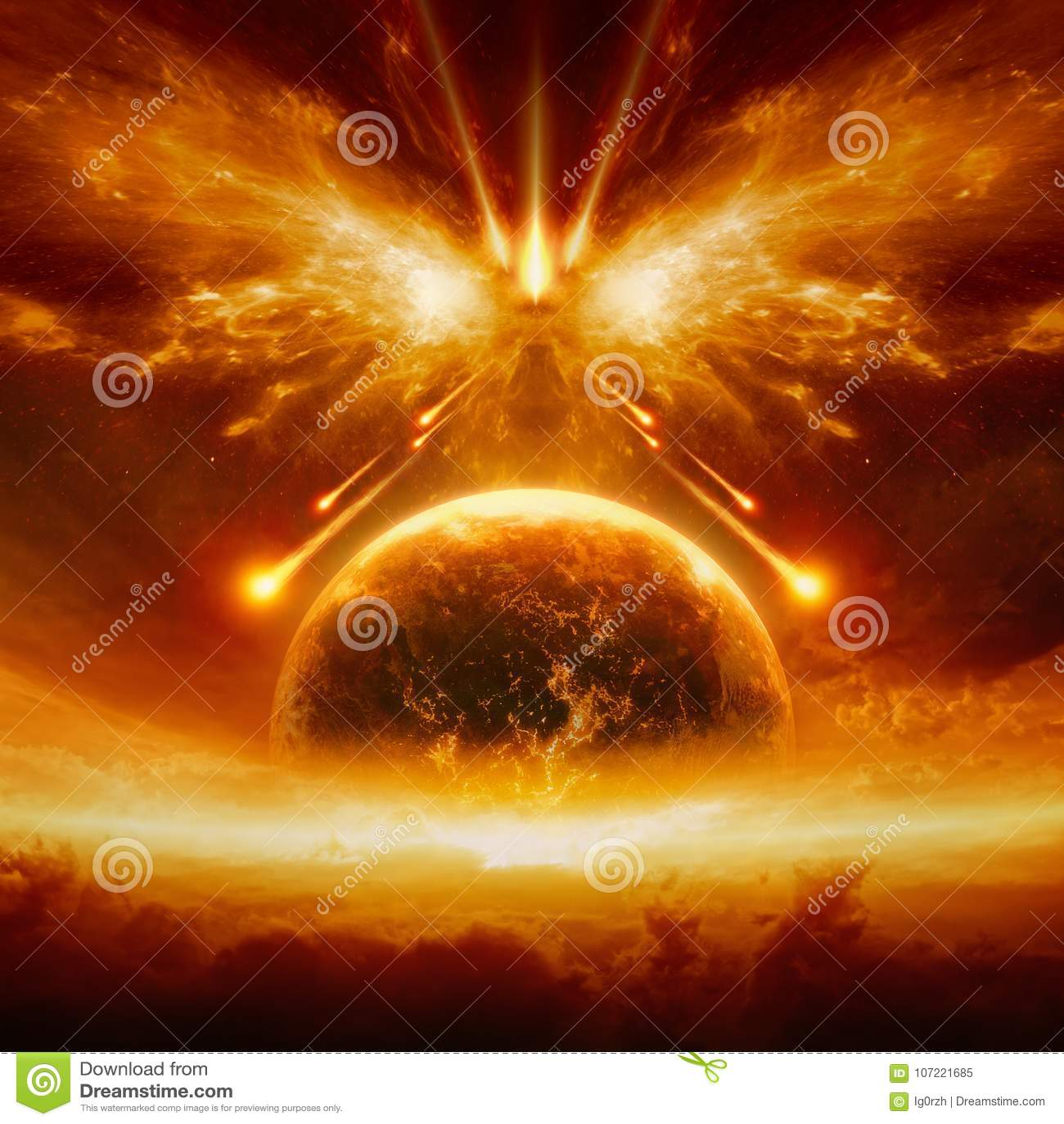 Końcówka świat, zupełny zniszczenie planety ziemia