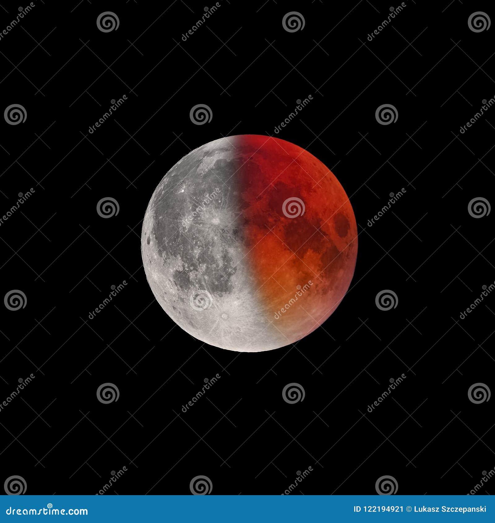 Kończyć faza Super Krwista księżyc folował zaćmienie