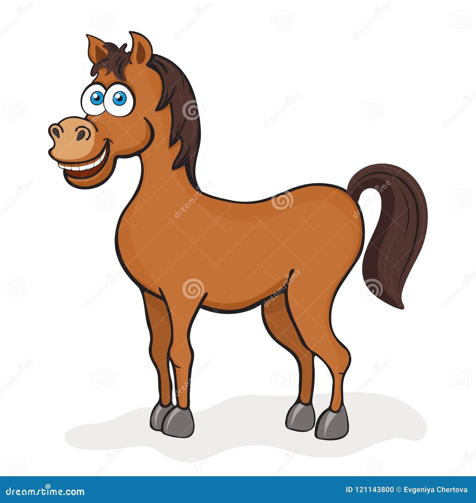 Koński kreskówka rysunek, wektorowa ilustracja Śmieszny śliczny malujący brown koń z niebieskimi oczami odizolowywającymi na biał