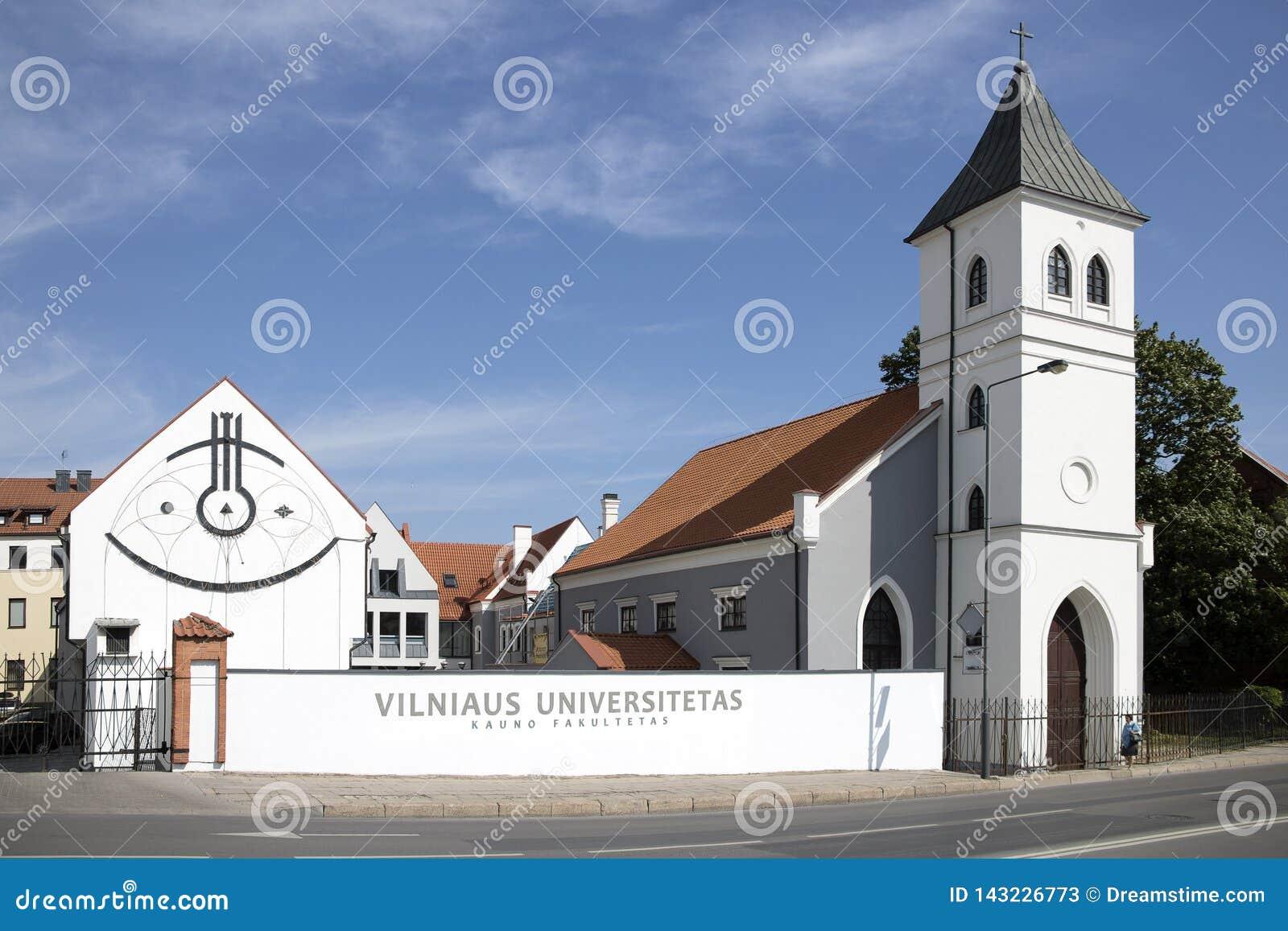 Kośćiółu Protestanckiego i uniwersyteta budynki w Kaunas