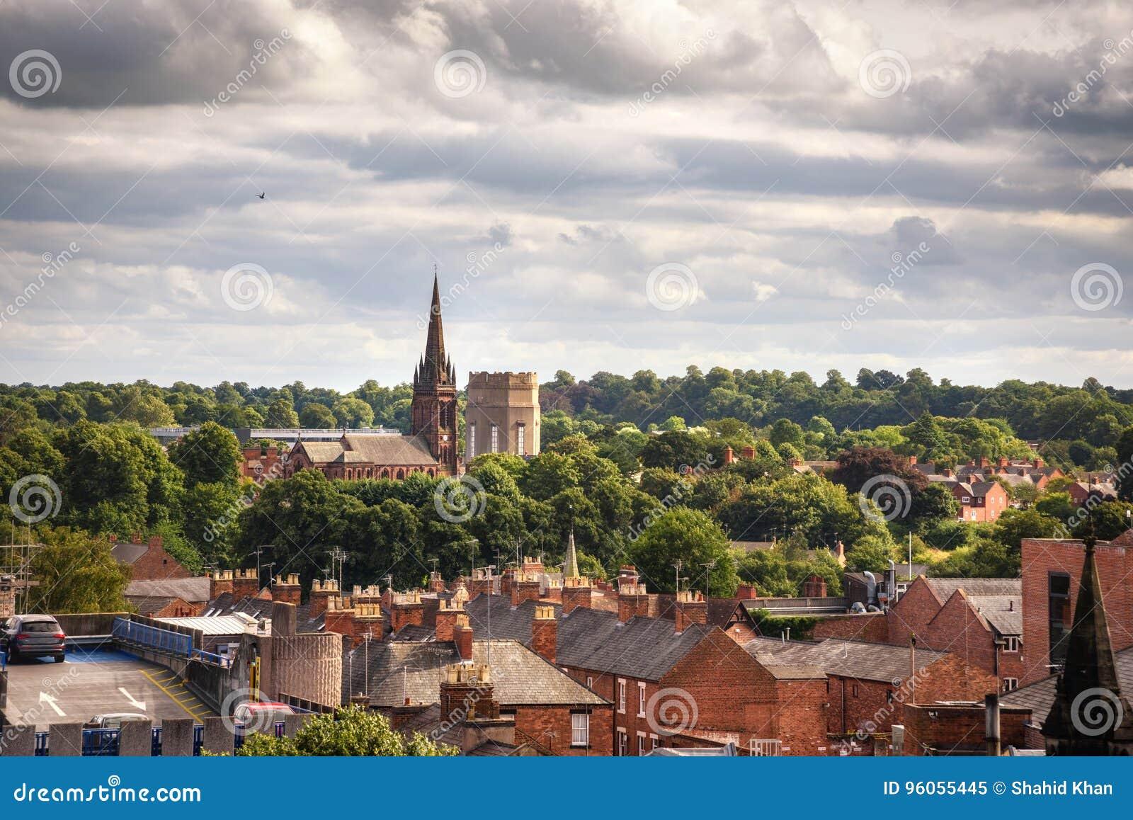 Kościół Chester Anglia i domy