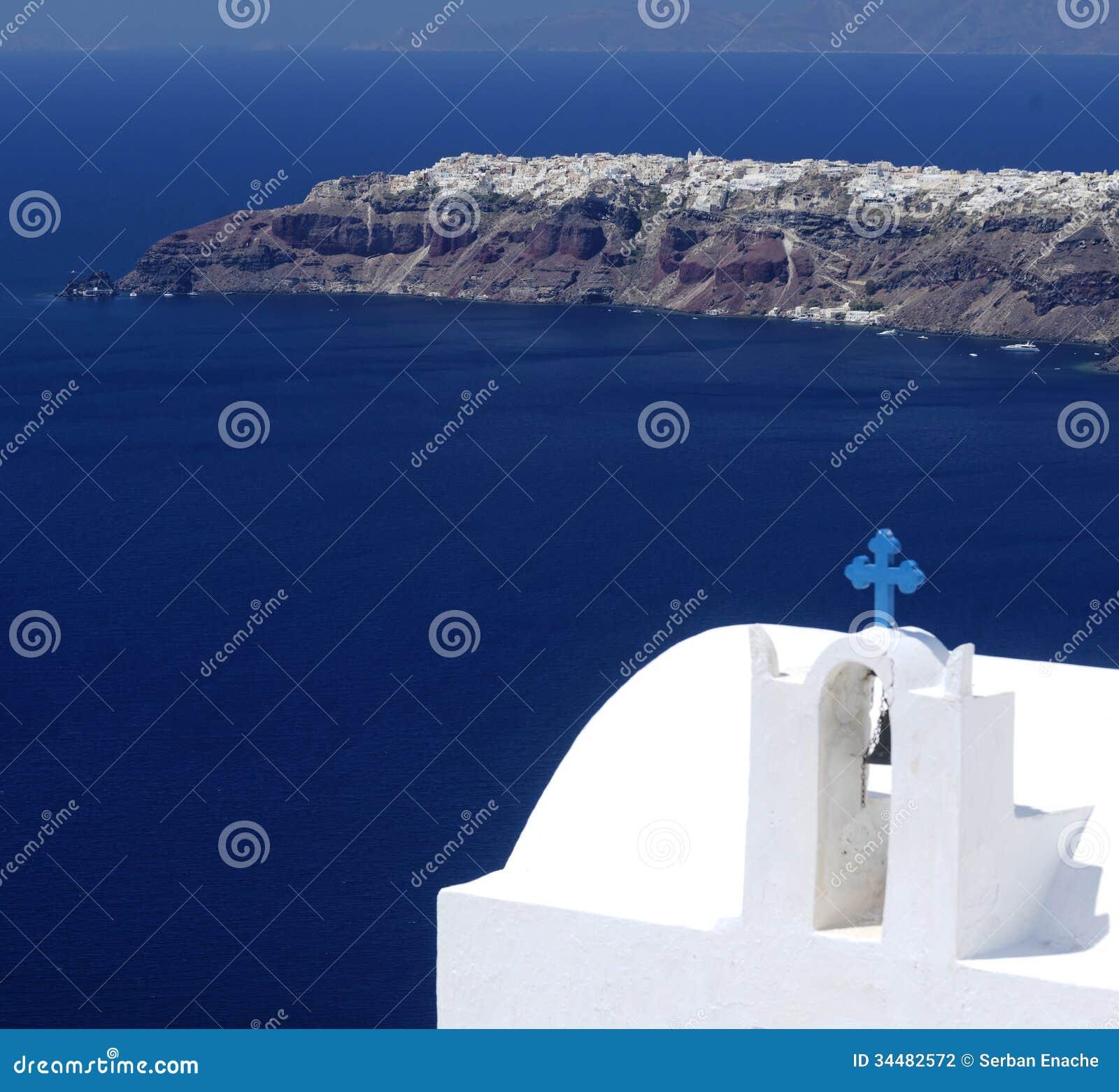 Kościół na Santorini wyspie