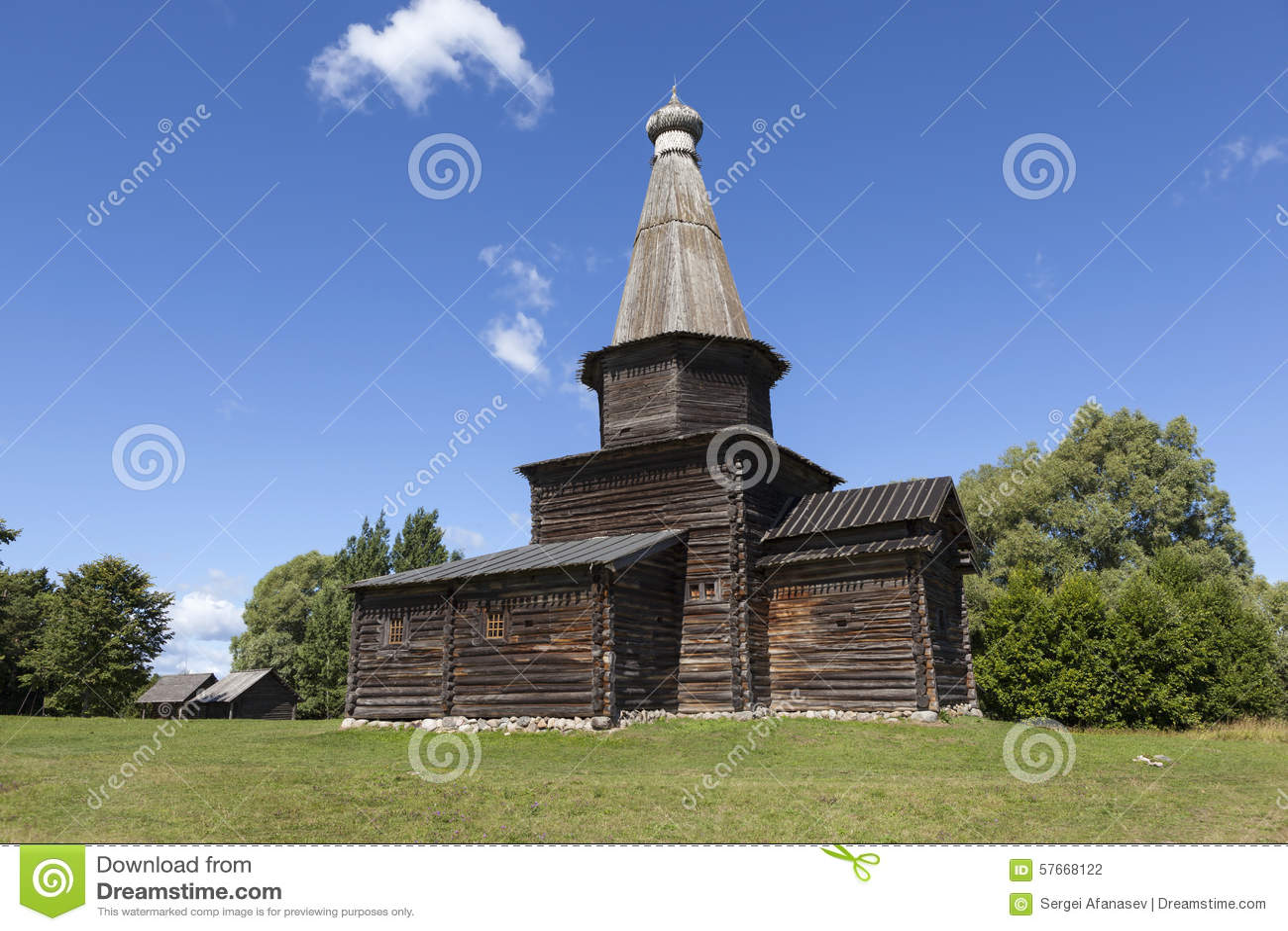Kościół wniebowzięcie w 1595 Muzeum Drewniana architektura Vitoslavlitsy Velikiy Novgorod Rosja