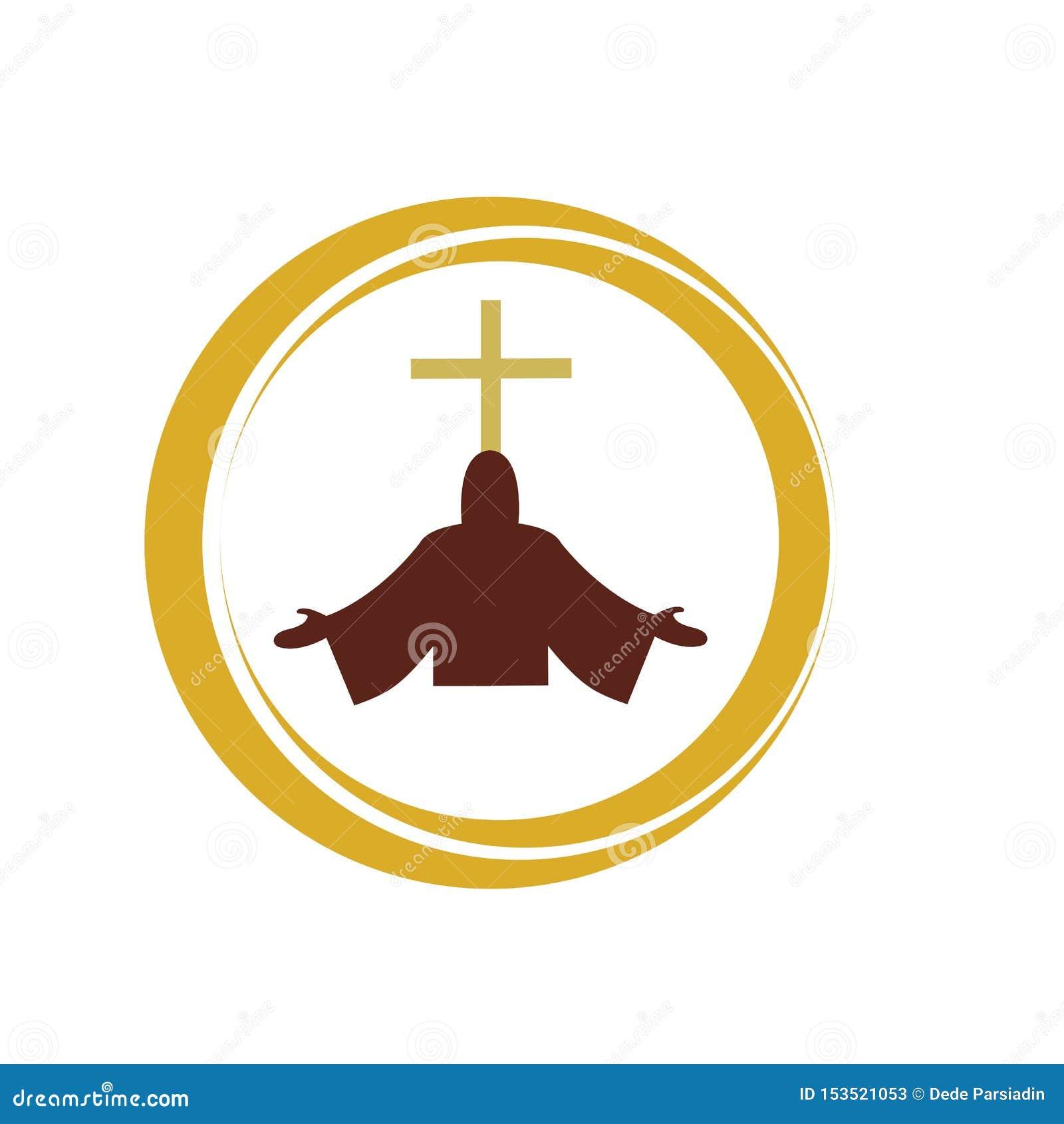 Kościelny chrześcijański kreskowej sztuki logo projekt, Chrześcijańscy symbole