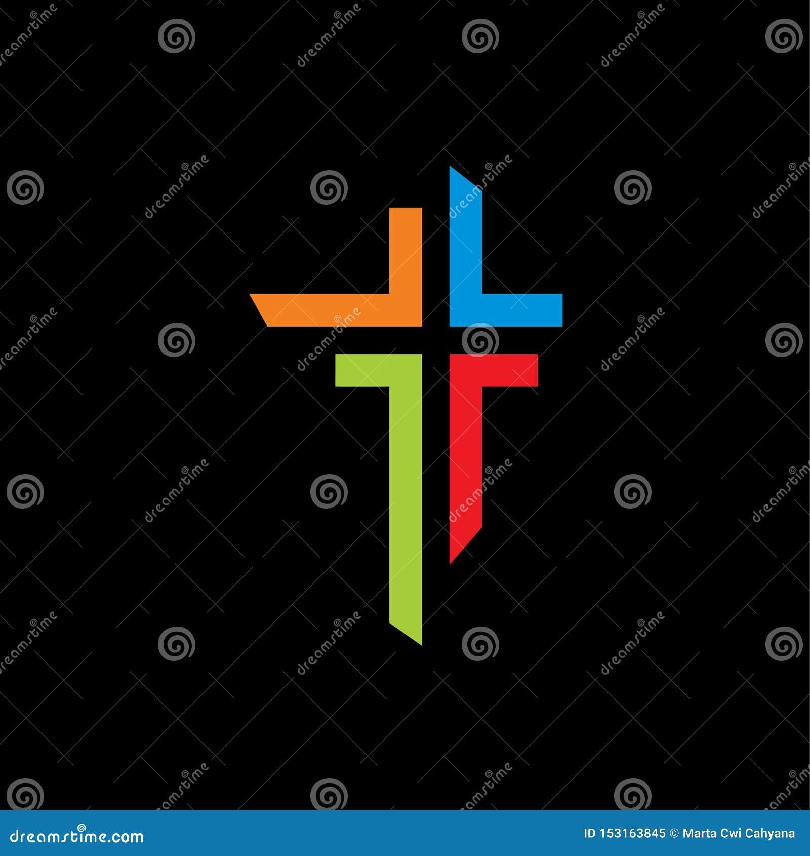 Kościelny ikona symbolu logo szablon kolorowy