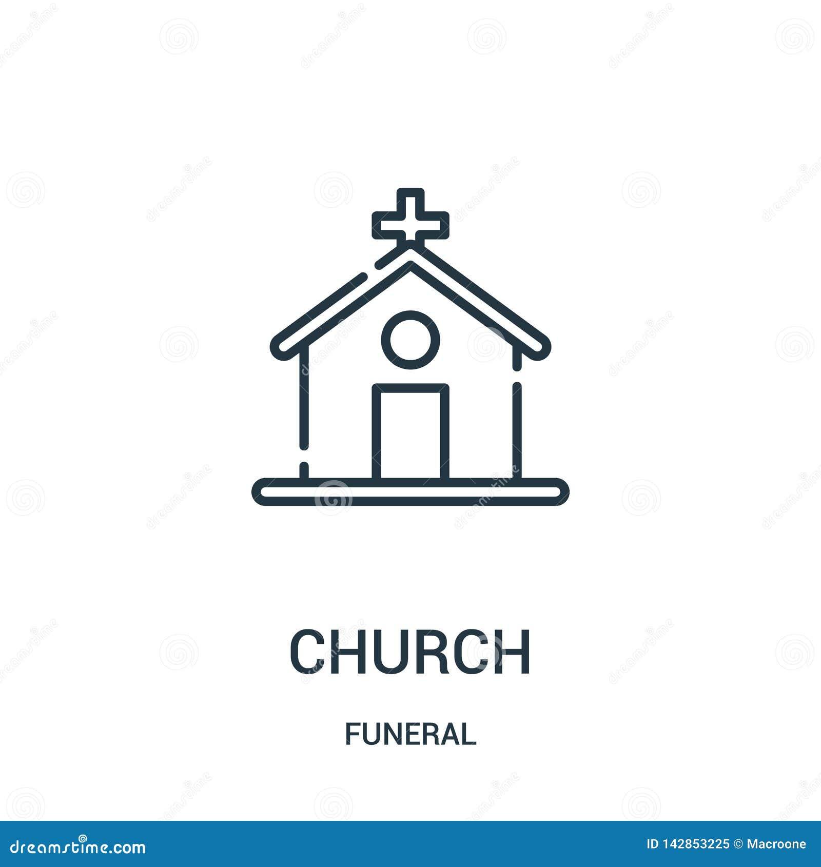 Kościelny ikona wektor od żałobnej kolekcji Cienka kreskowa kościelna kontur ikony wektoru ilustracja Liniowy symbol dla używa na