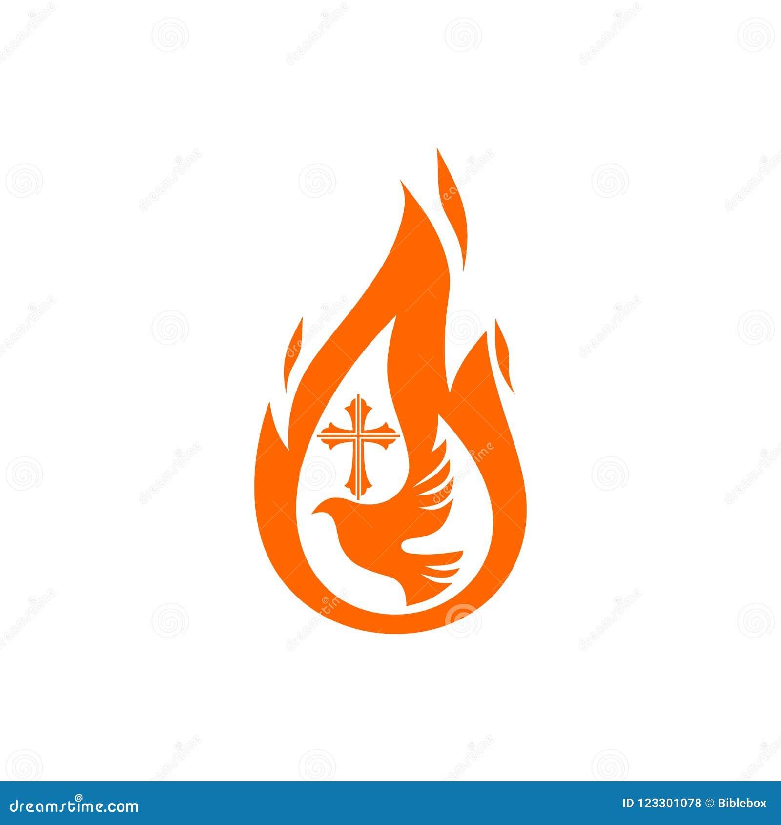 Kościelny logo Chrześcijańscy symbole Gołąbka płomień Święty duch i krzyż Jezus,