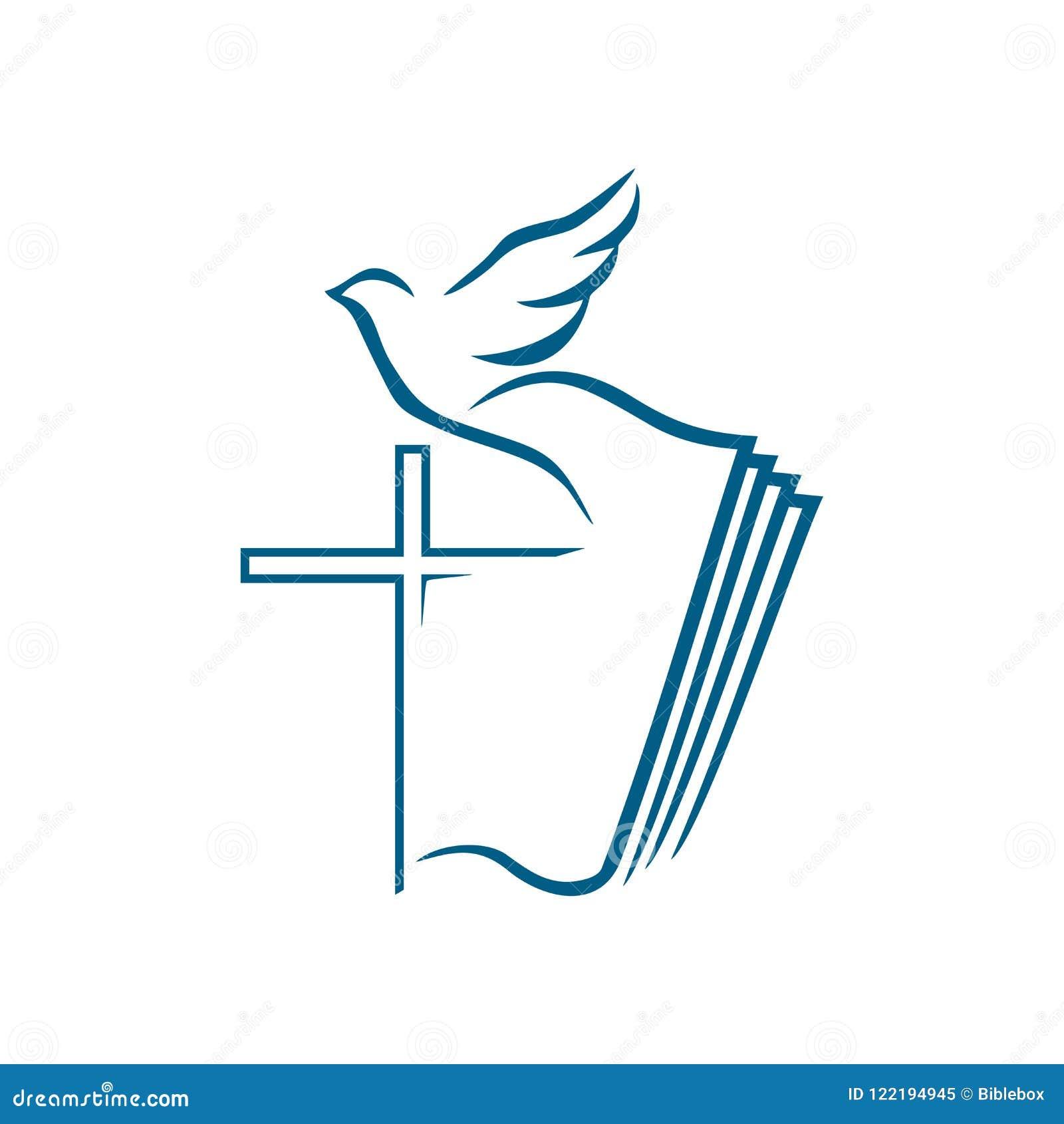Kościelny logo Chrześcijańscy symbole Krzyż jezus chrystus na tle otwarta biblia i latający d