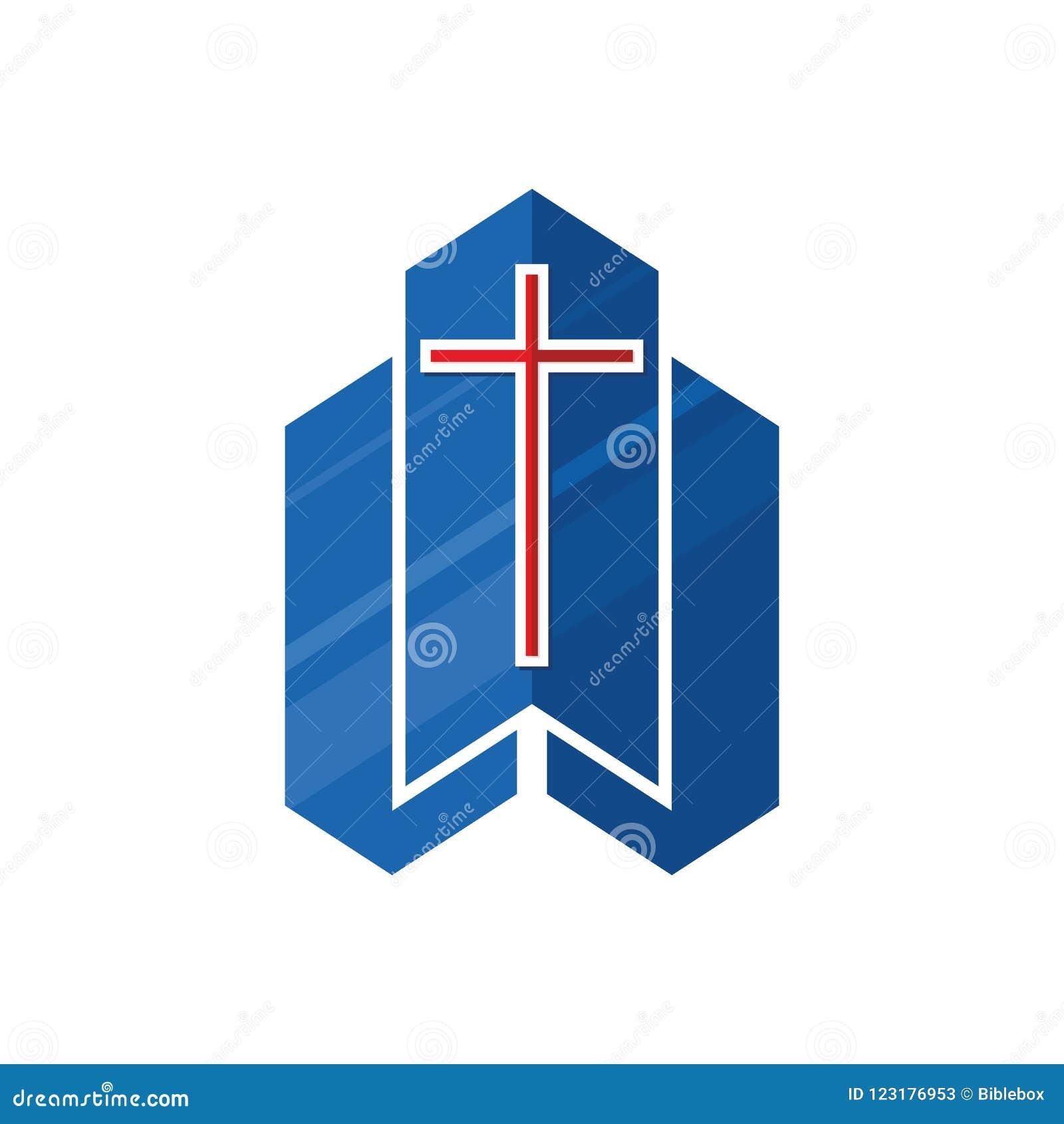 Kościelny logo Chrześcijańscy symbole Krzyż Jezusowego i graficznego projekta elementy