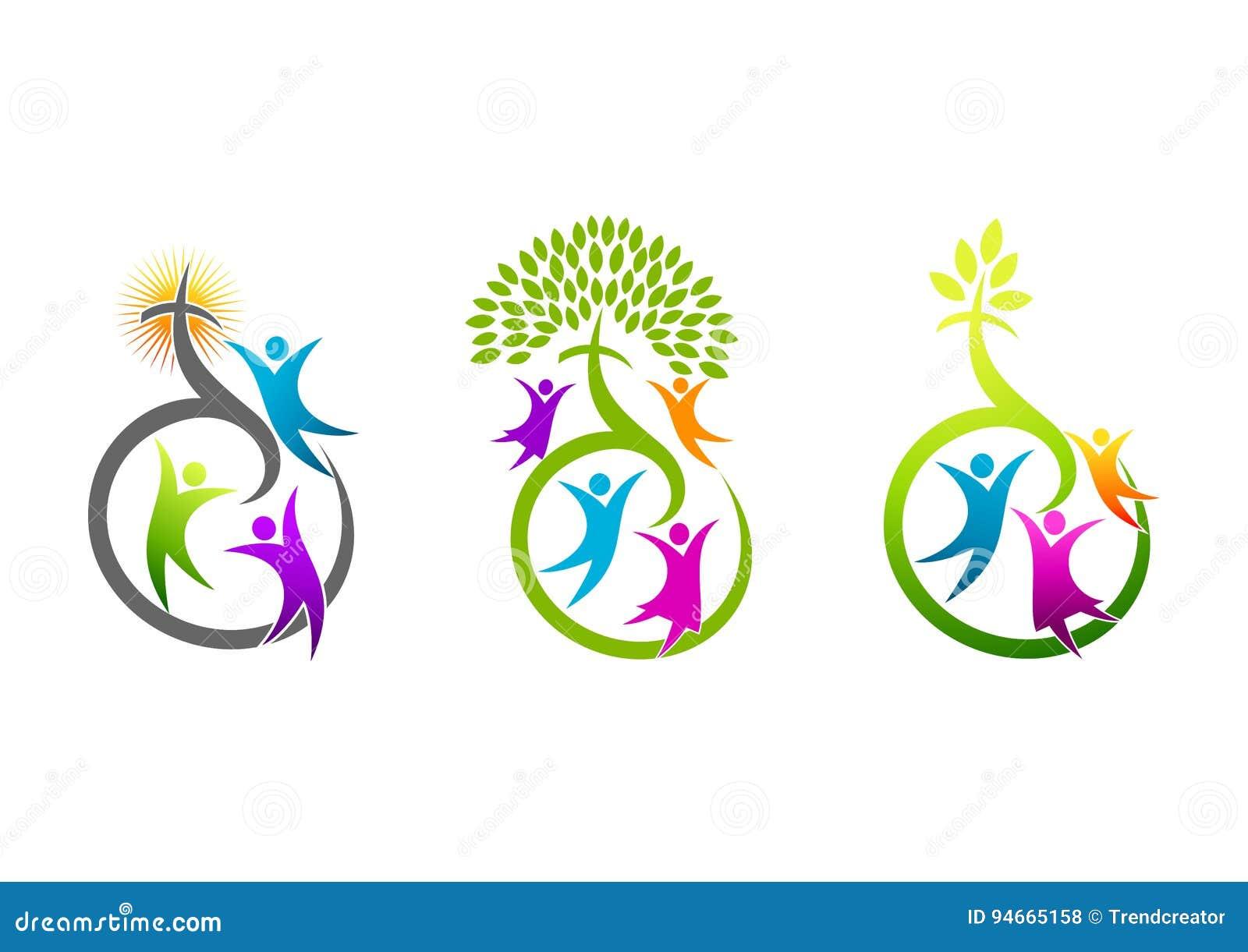 Kościelny logo, religijna rodzinna ikona, chrześcijanina znak, natura krucyfiksu symbol i wzrostowy świętego ducha pojęcia projek