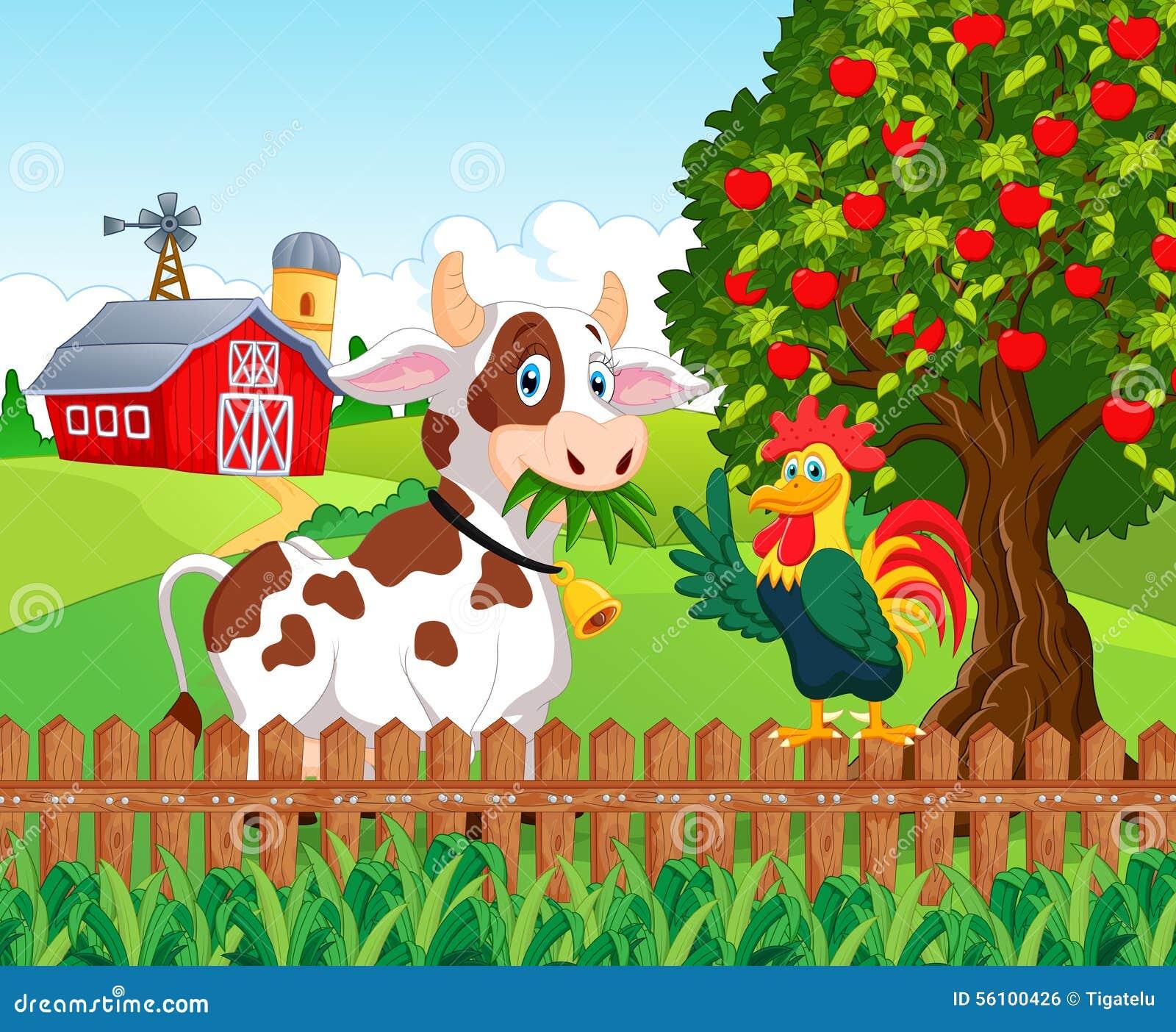 Ko och höna för tecknad film lycklig i lantgården