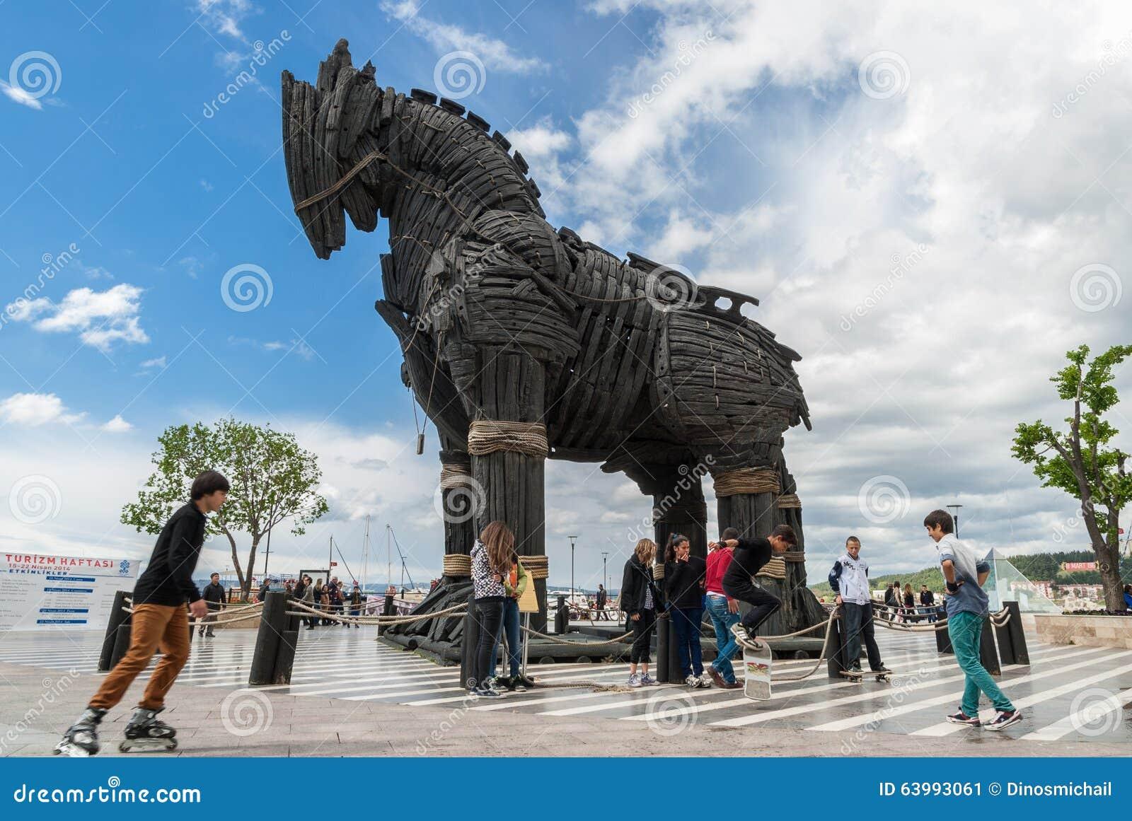Koń Trojański W Turcja Zdjęcie Editorial Obraz Złożonej Z Drewno