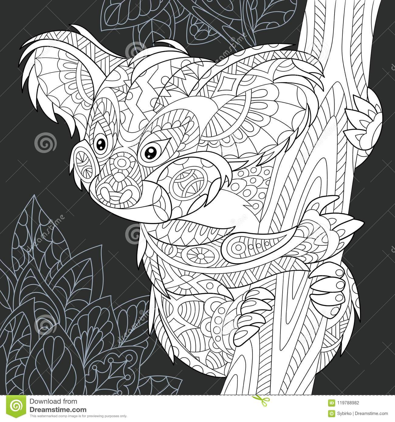 Download koala bear in black and white style stock vector illustration of contour australia
