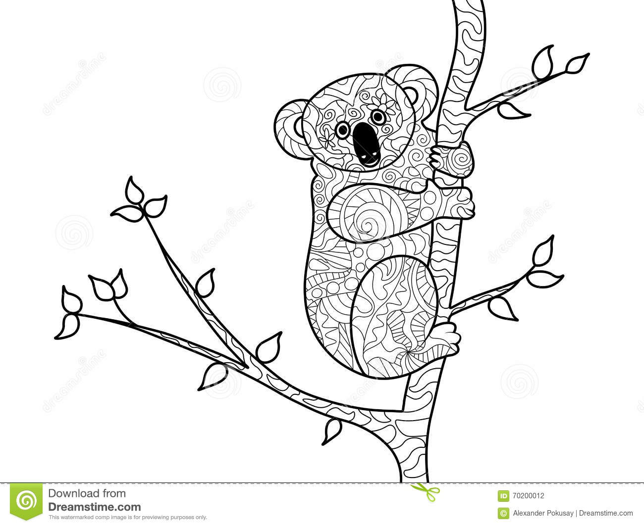koala bear coloring book adults vector tree illustration anti stress adult zentangle style black white