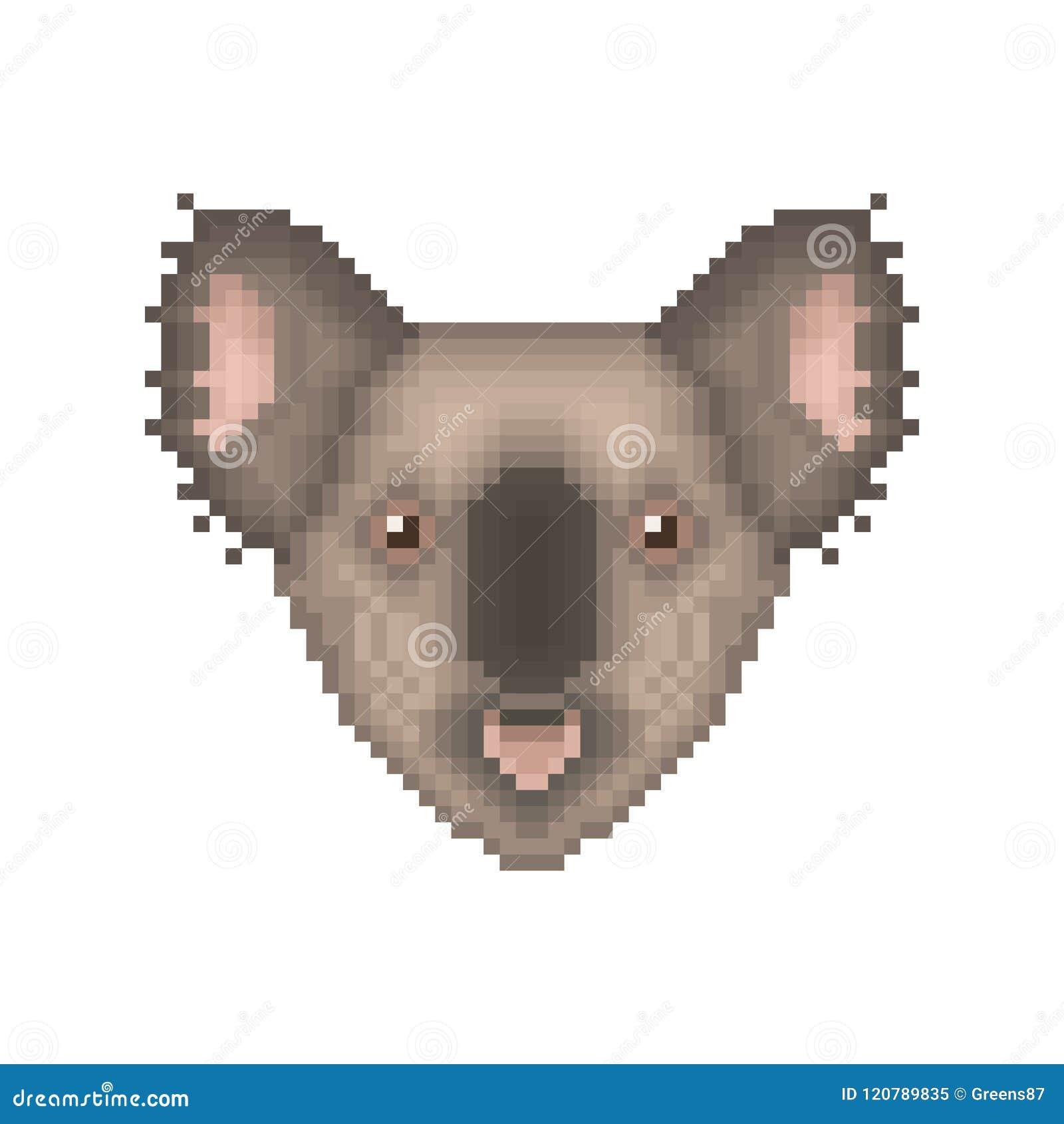 Koala Bear Pixel Art Portrait Cartoon Animal Icon Stock