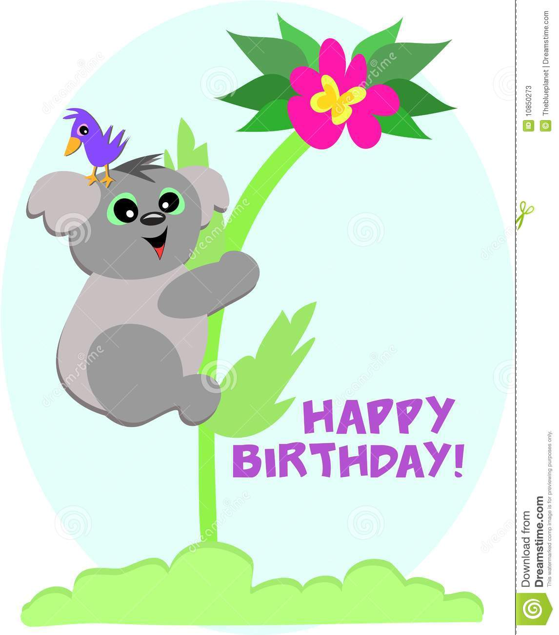 koala bear says happy birthday stock vector
