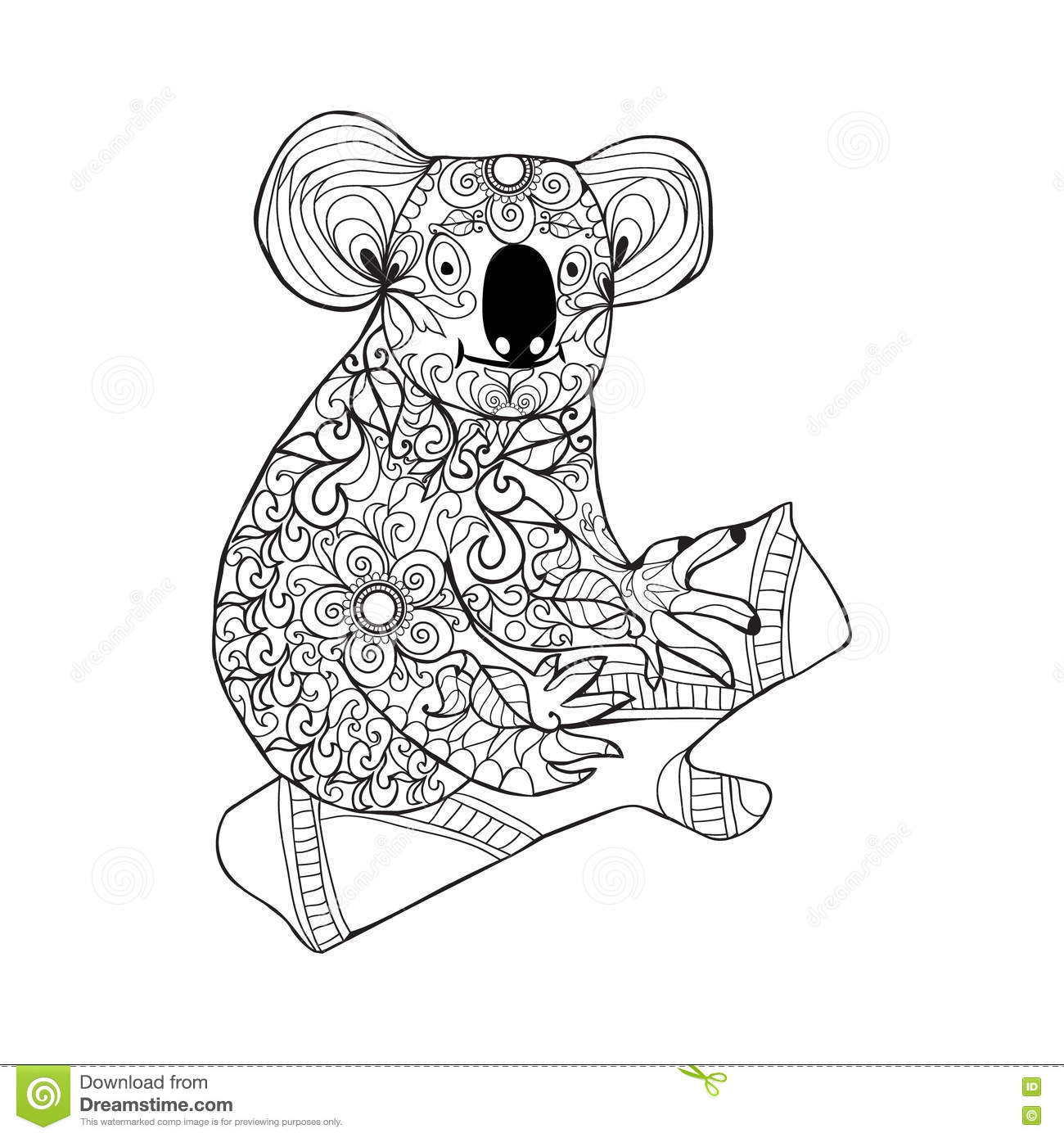 Black White Hand Drawn Doodle Animal For Coloring Page Stock Photography