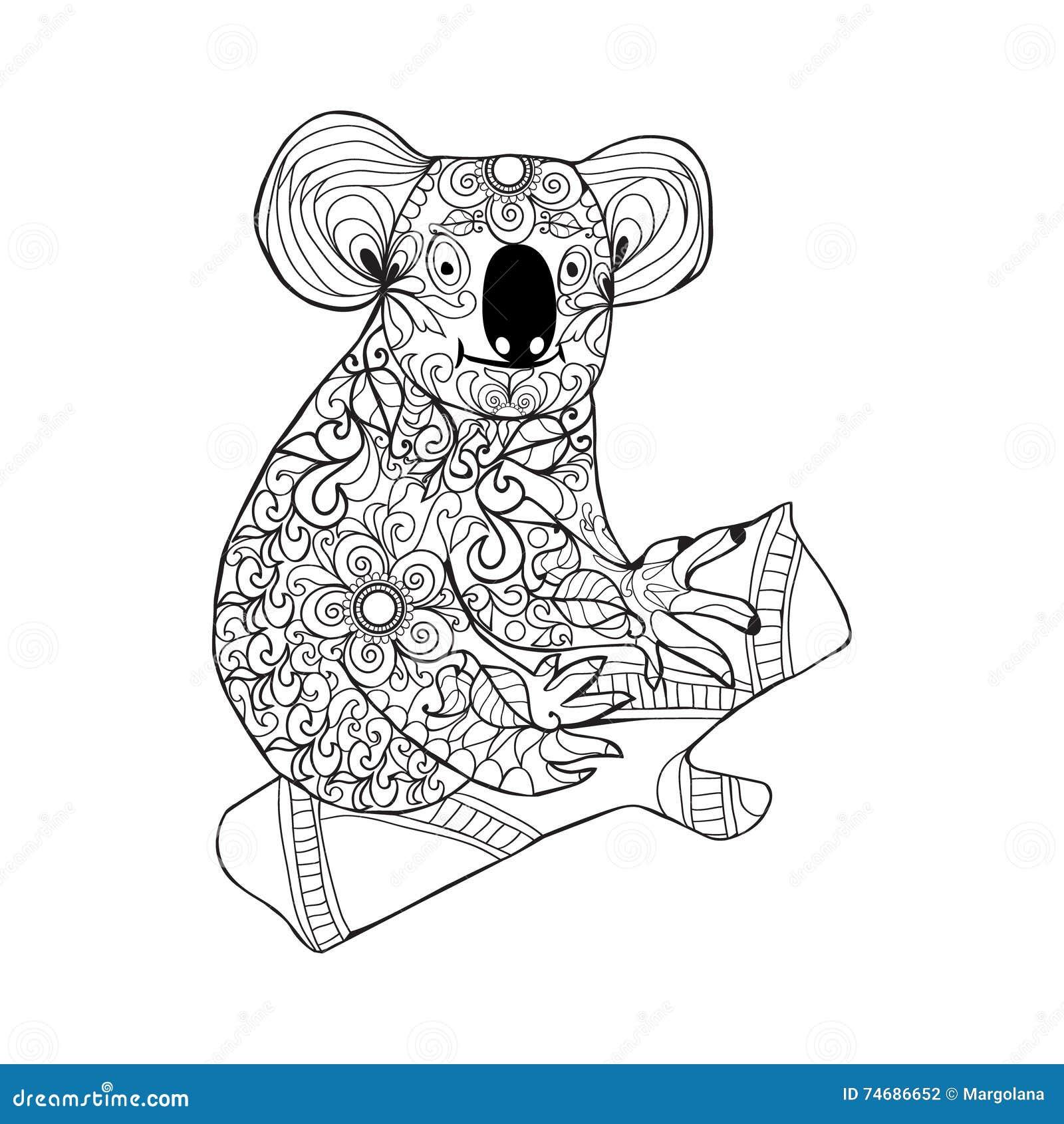 Drawing Zentangle Koala For Coloring Page Shirt Design