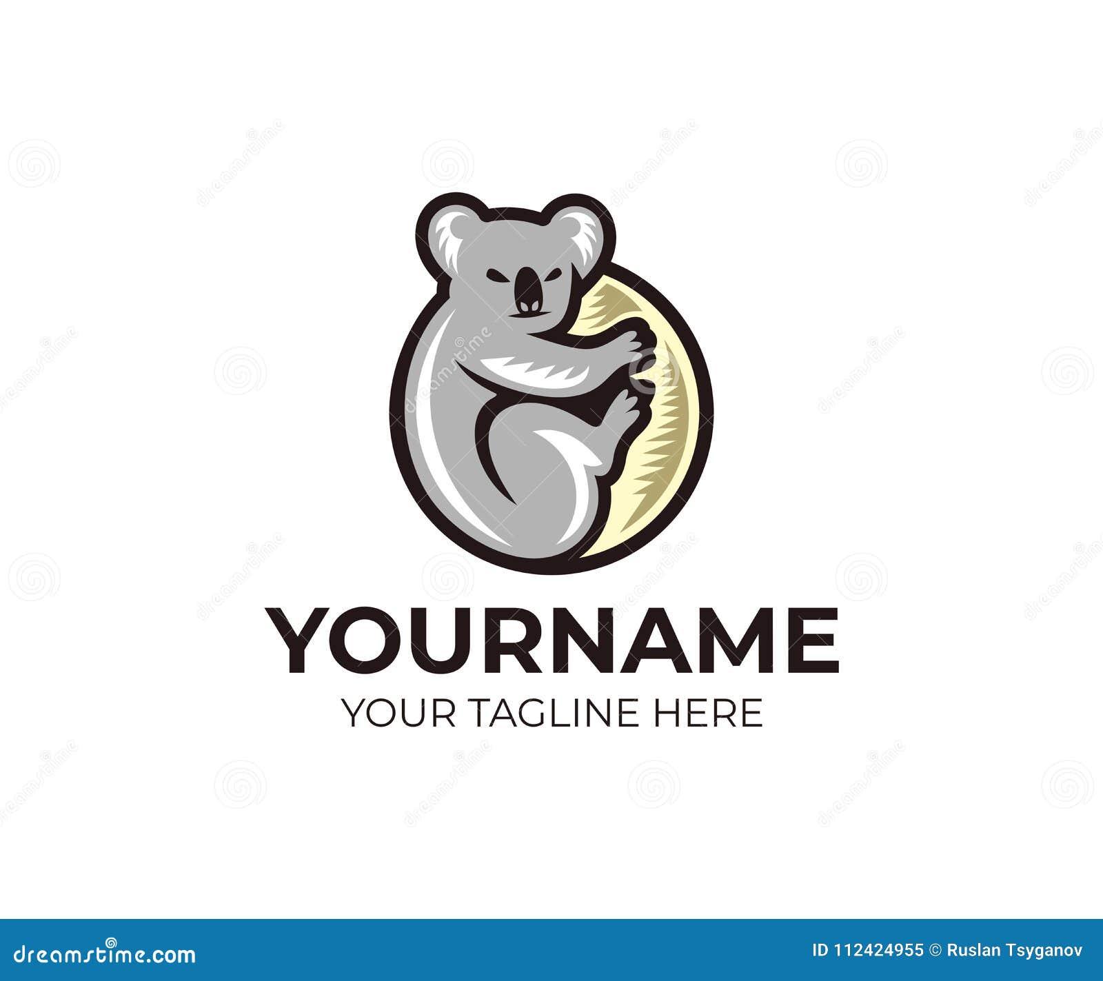 koala climbing on eucalyptus tree logo template grey koala bear