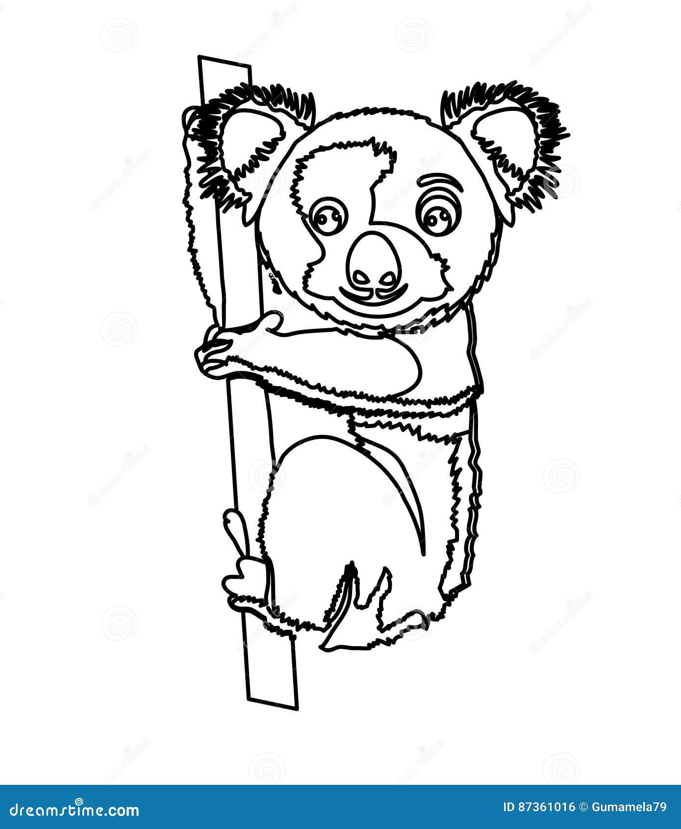 Koala coloring page stock illustration. Illustration of game - 87361016