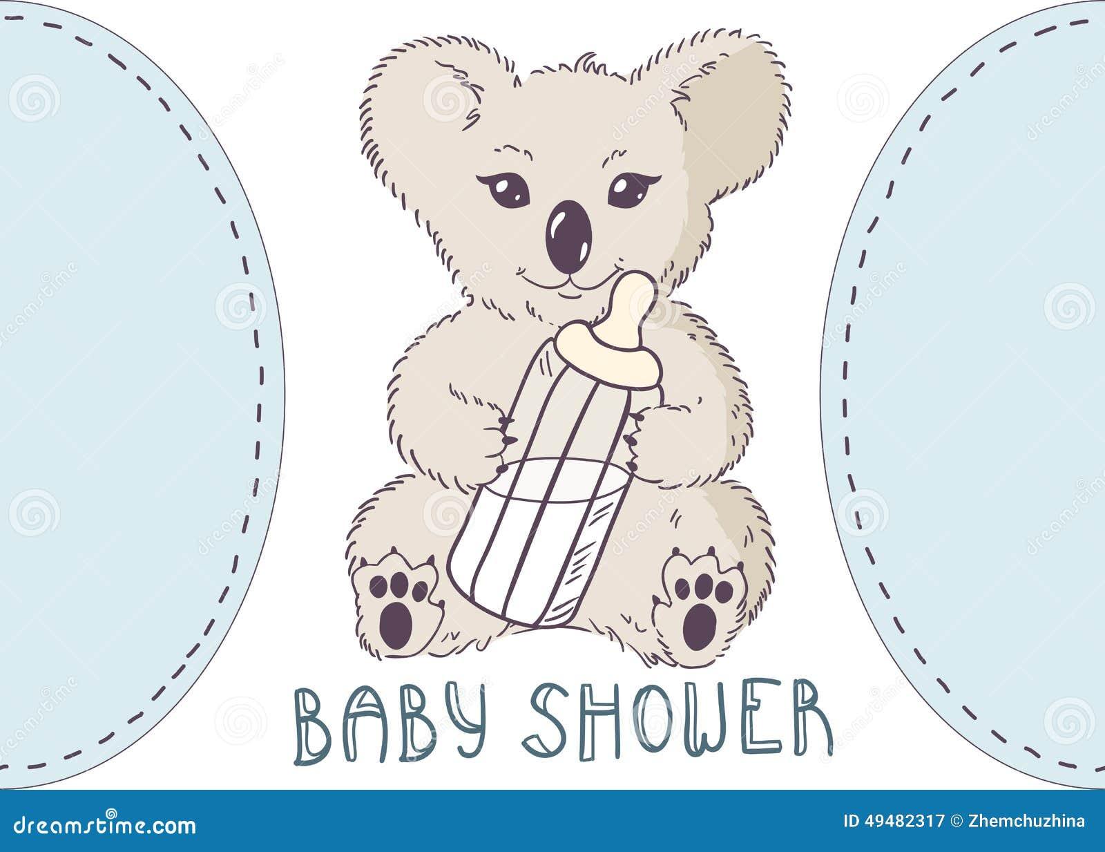 Koala Con La Botella De Leche Ducha De Bebé Ilustración del Vector ...
