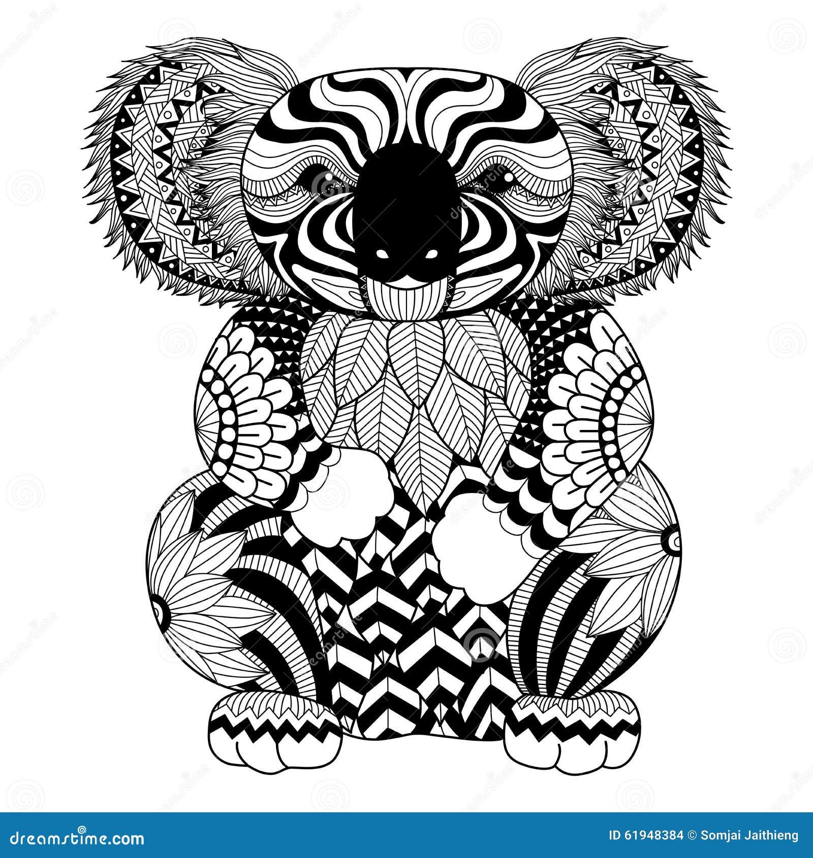 Koala Del Zentangle Del Dibujo Para La Página, El Efecto Del Diseño ...