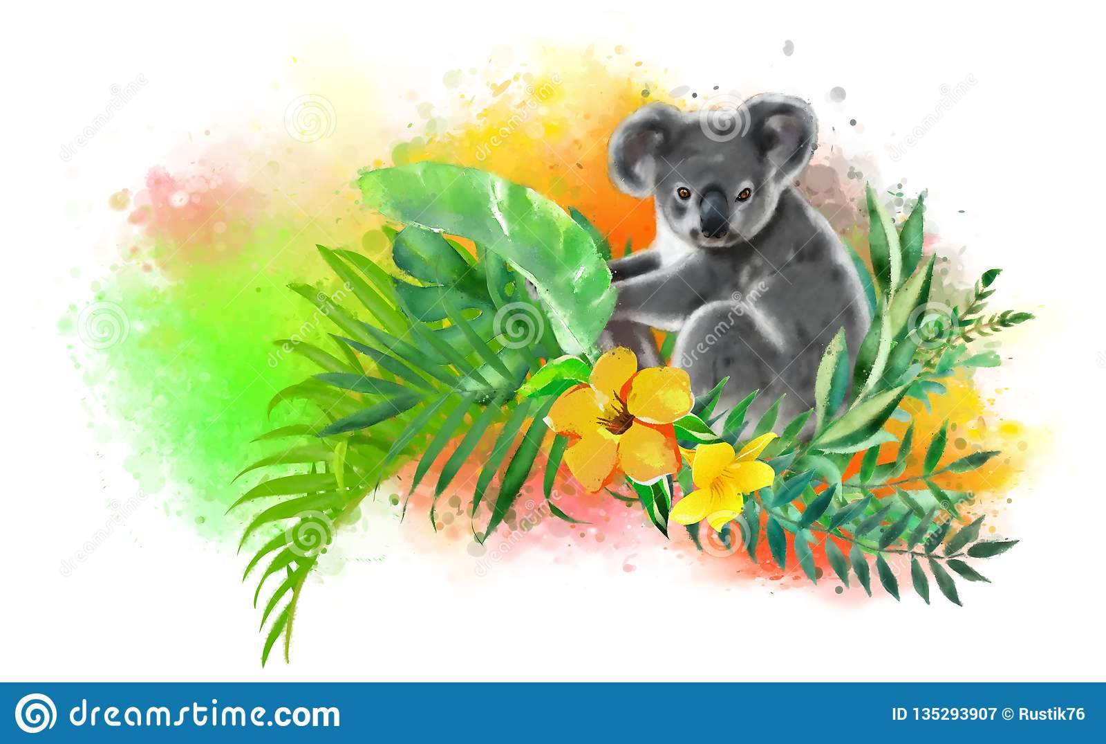 Koala en colores tropicales en un fondo del arco iris de descensos de la pintura