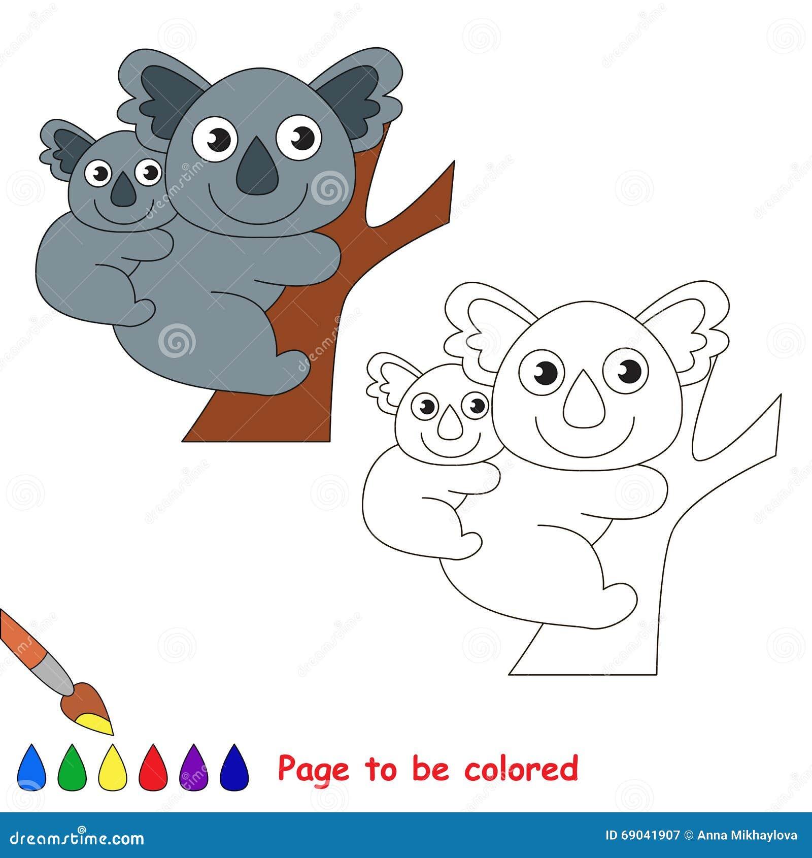 Koala Et Sa Bande Dessinée De Bébé Page à Colorer
