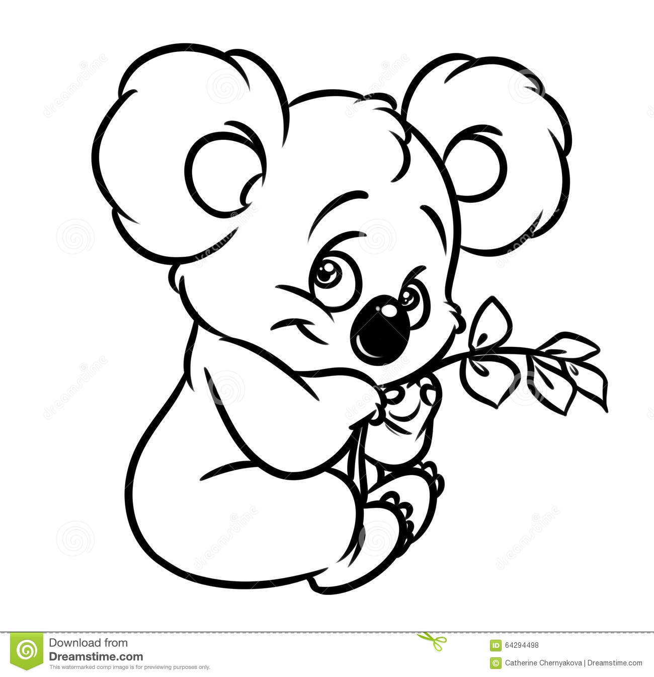 Line Drawing Koala : Koala eucalyptus leaves coloring page stock illustration