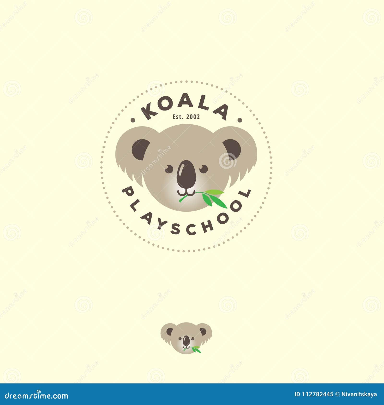 Koala Flat Logo Cute Bear Emblem Kindergarten Or Kids Development Groups Icon