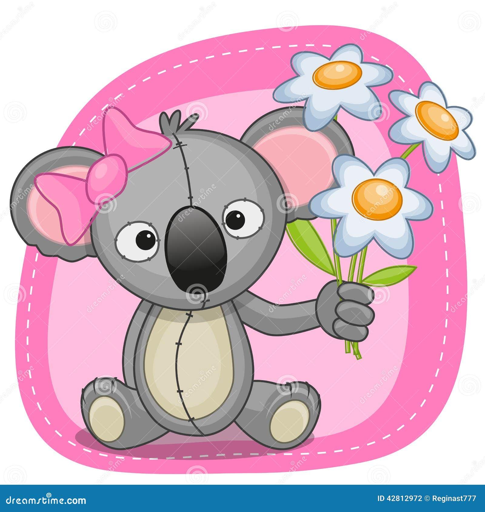 Koala With Flowers Stock Vector Illustration Of Baby 42812972
