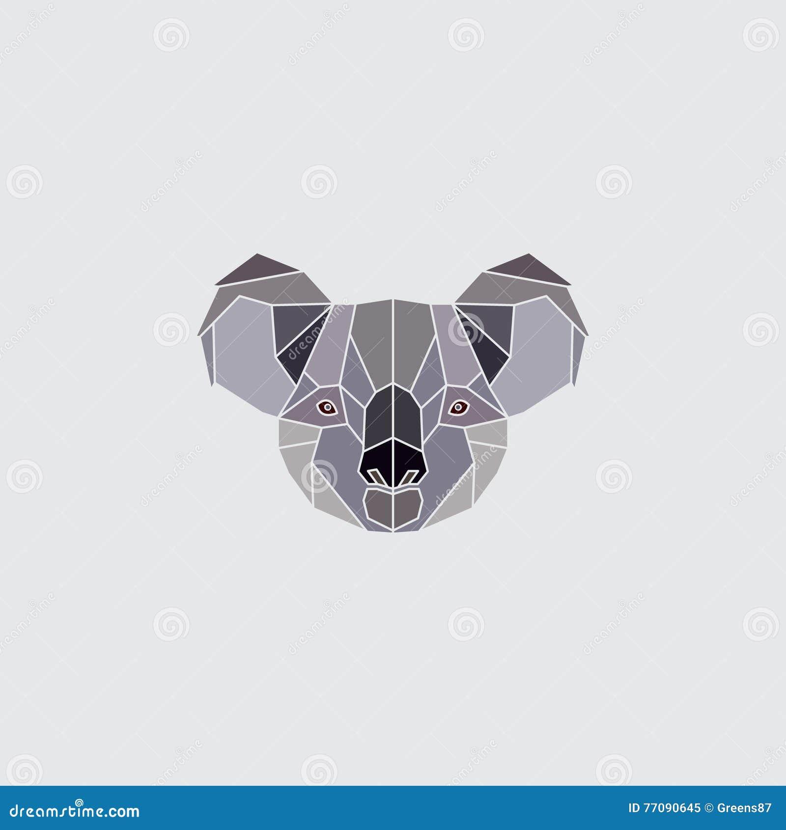 Koala head logo stock vector. Illustration of geometric ...