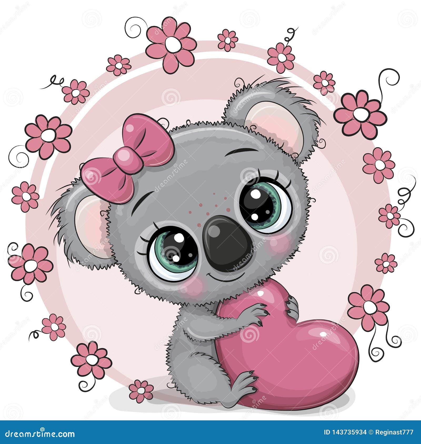 Koala Mignon De Bande Dessin E Avec Le Coeur Illustration De Vecteur Illustration Du Mignon Avec 143735934