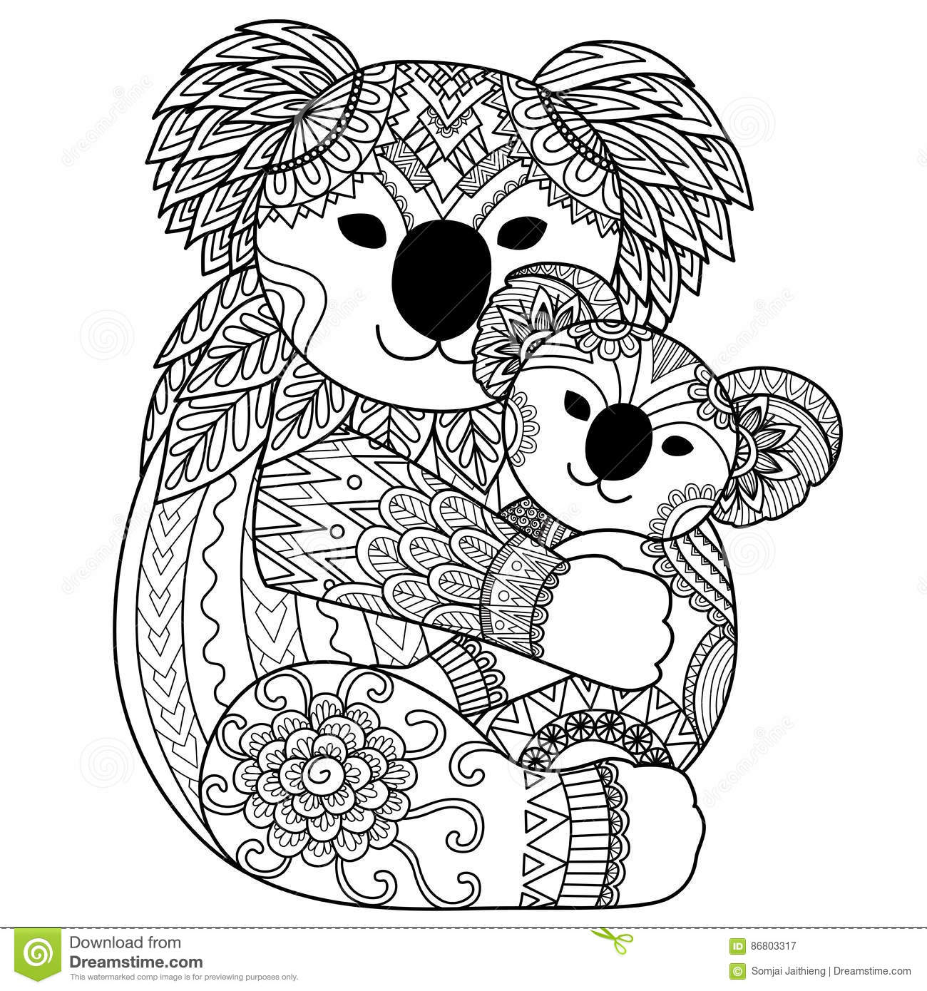 The zoology coloring book - Zoology Coloring Book Download Koala Mother Cuddling Her Baby Stock Vector Image