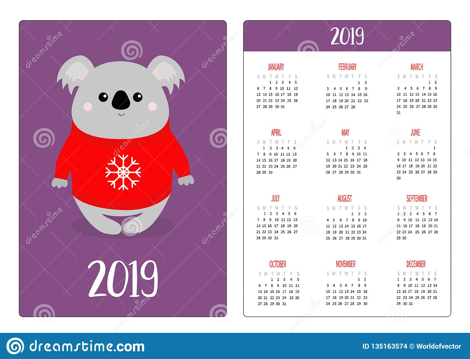 Ugly Christmas Sweater Cartoon.Koala In Red Ugly Christmas Sweater With Snowflake Simple
