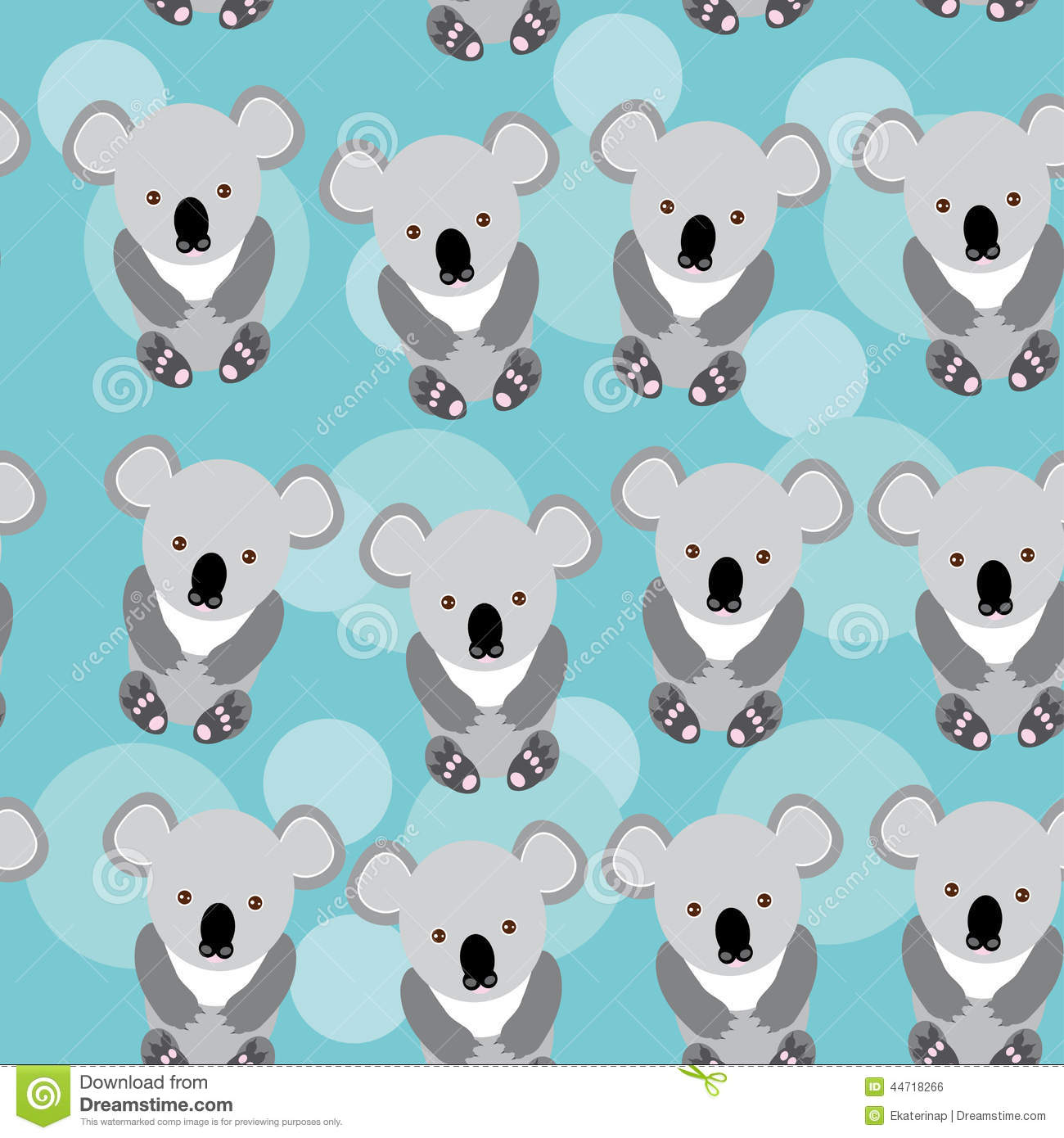 Koala Seamless Pattern With Funny Cute Animal On A Blue