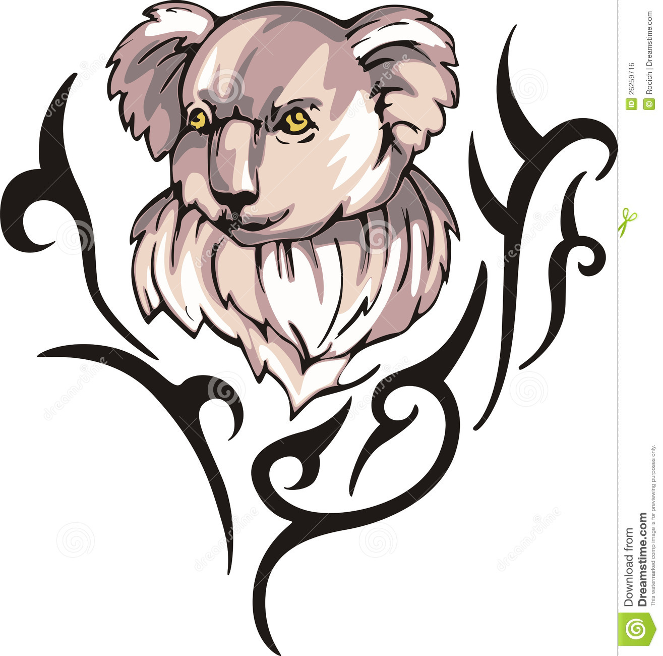 Koala Tattoo Stock Vector Illustration Of Australia 26259716