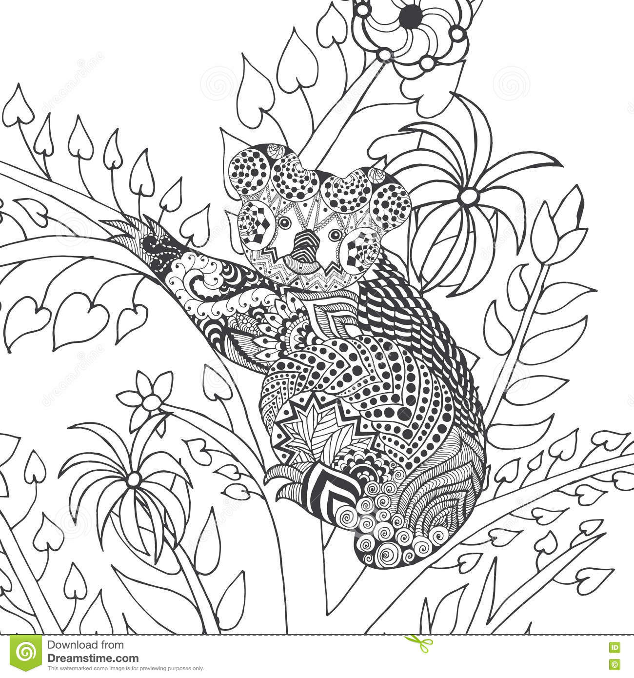 Koala On Tree Coloring Page. Stock Vector - Illustration of african ...