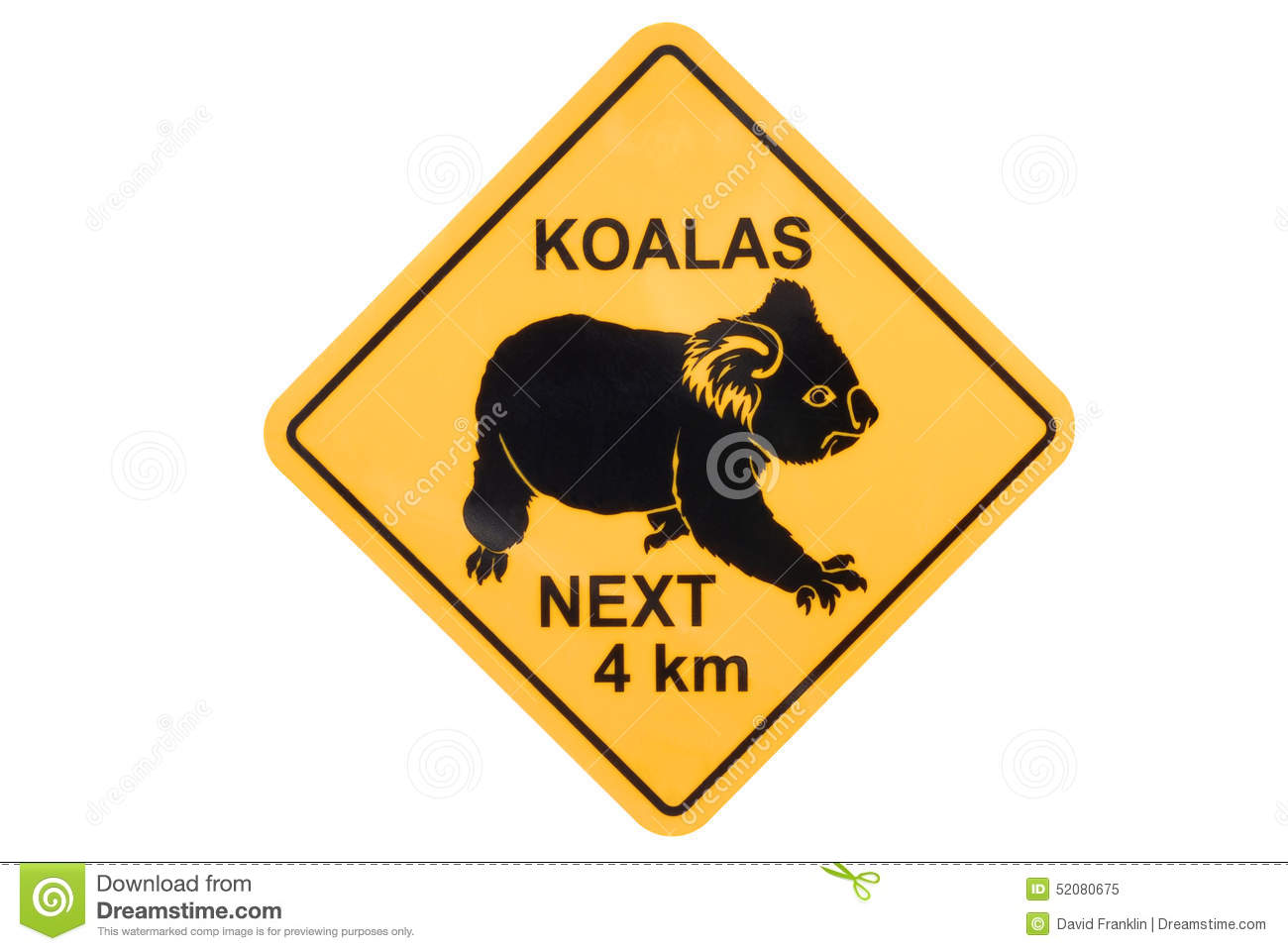 Australia, Australian Koala yellow road warning sign isolated on white ...