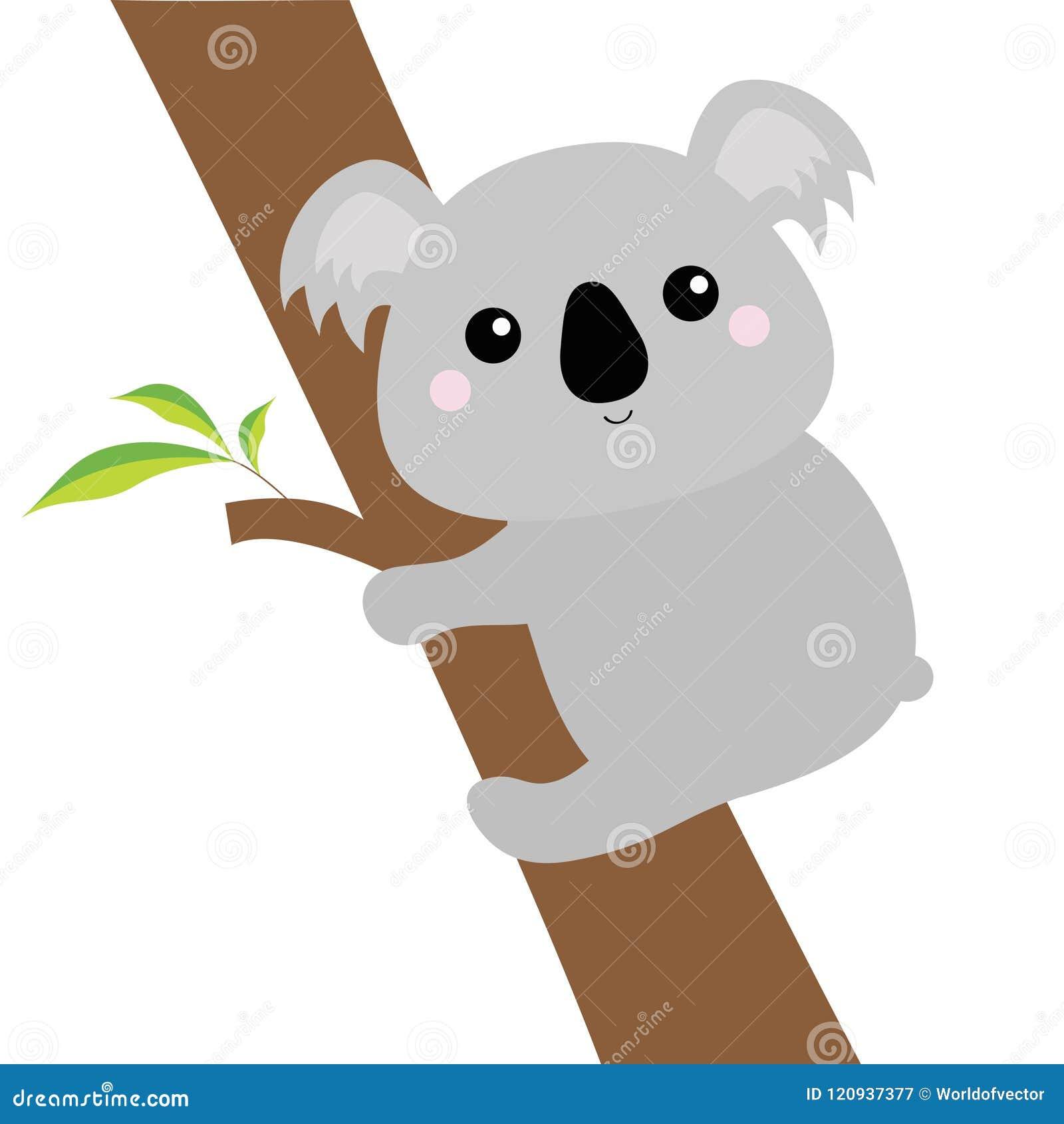 Koali twarzy głowy obwieszenie na eukaliptusowym drzewie Szara sylwetka Kawaii zwierzę Śliczny kreskówka niedźwiedzia charakter Ś