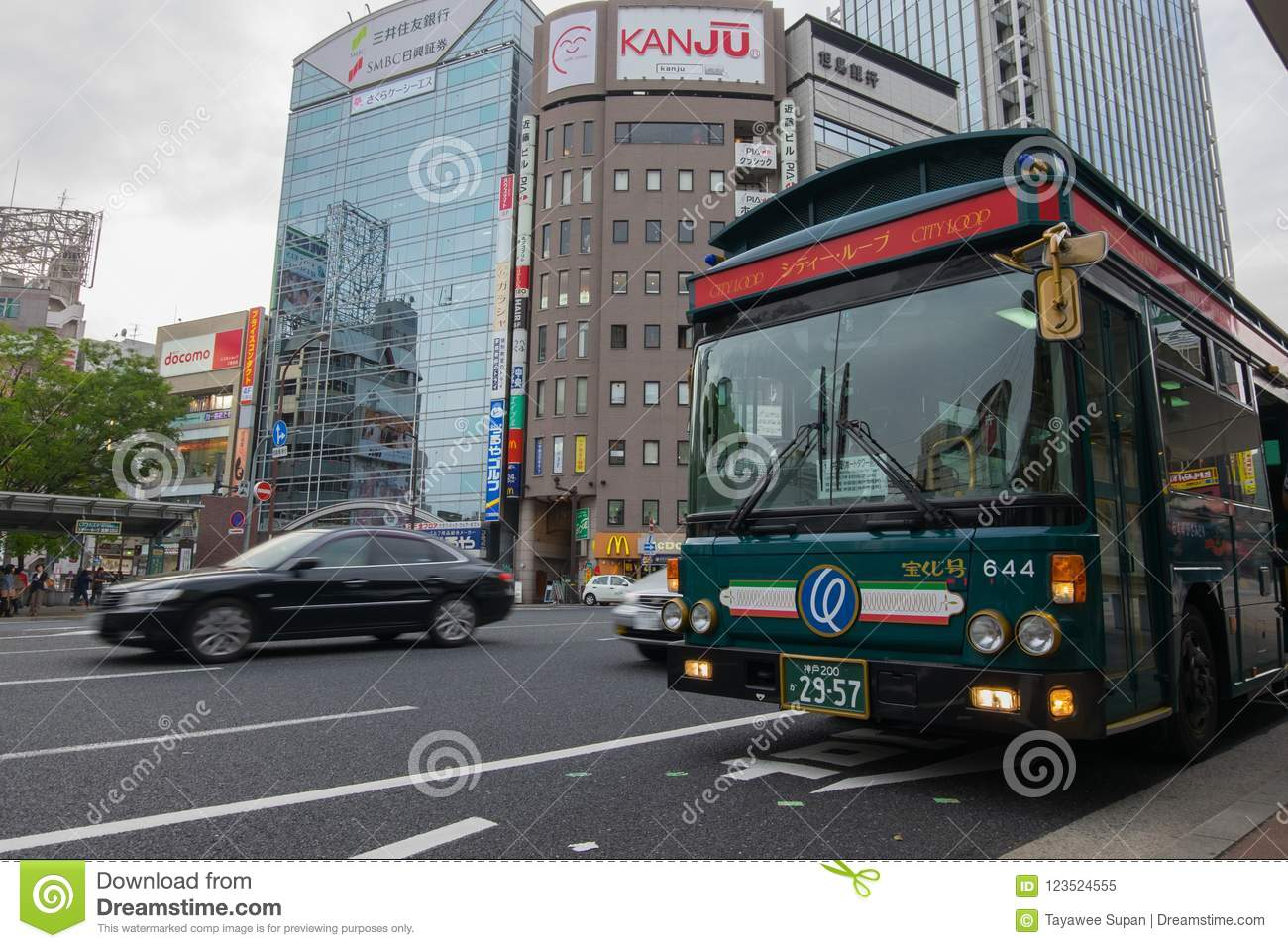city loop bus is a popular bus route for tourist. in kobe, japan