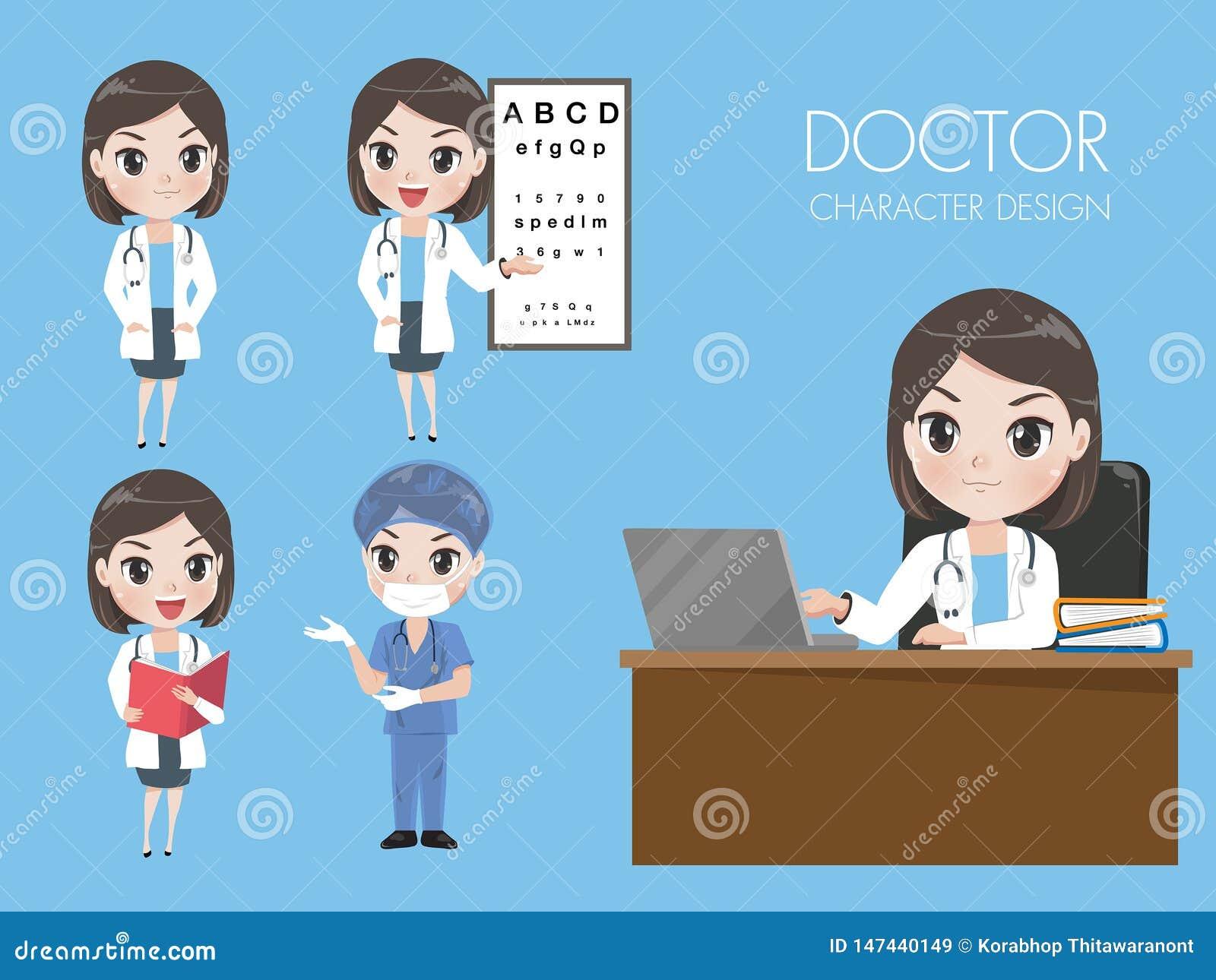 Kobiet lekarki w r??norodnych gestach w mundurze