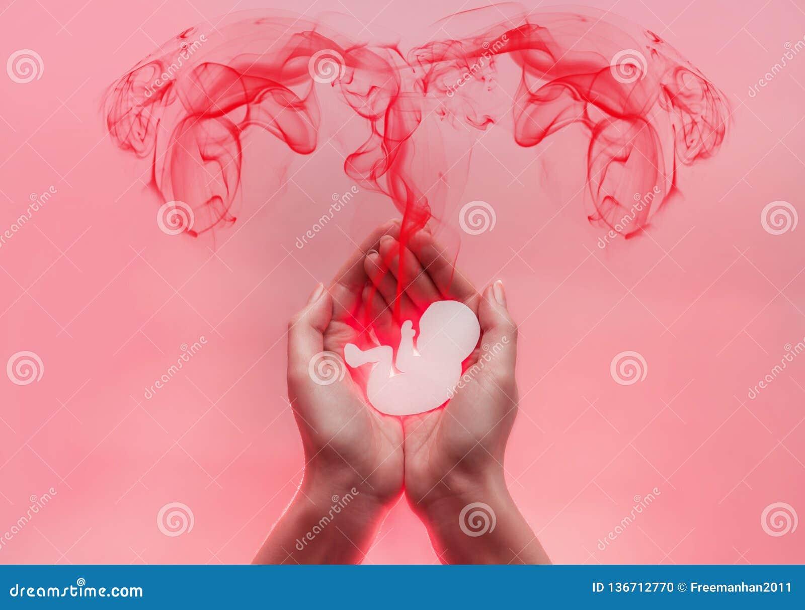 Kobiet palmy naciskać wpólnie i utrzymanie płód od papieru Czerwoni lood komesi od dziecka w postaci fallopian tubk Menchie