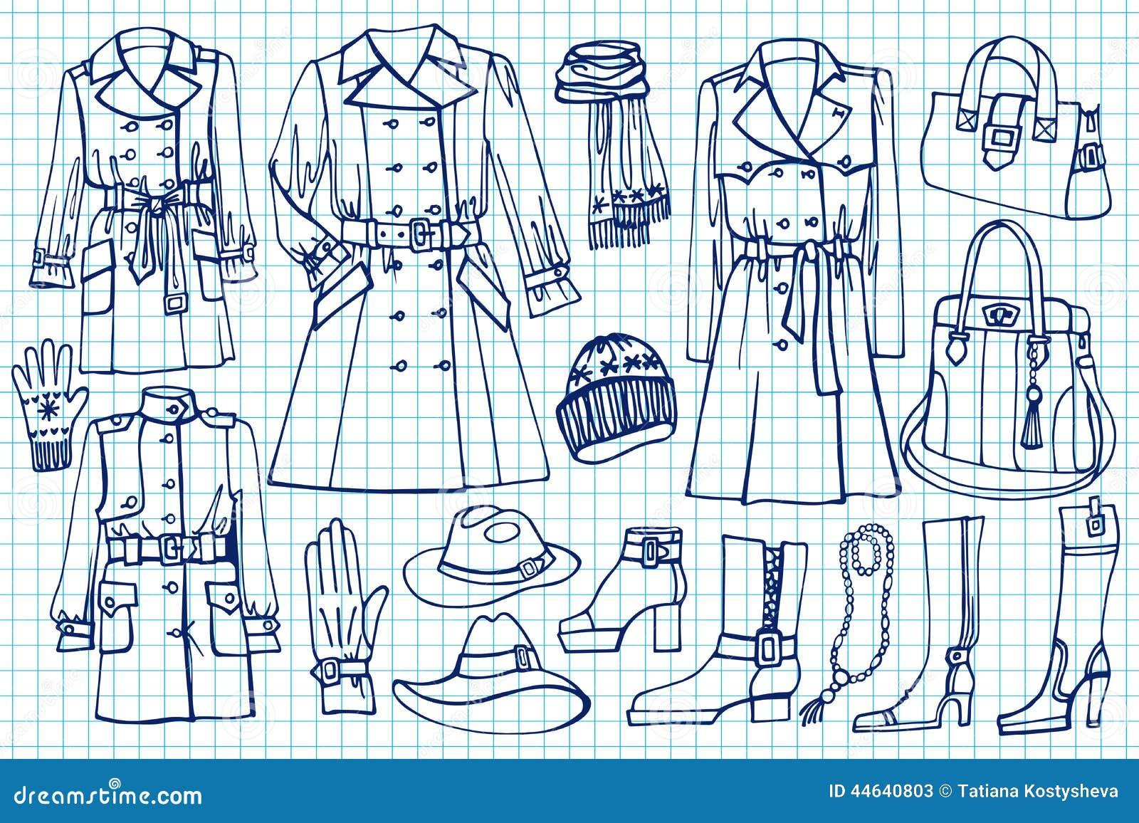Kobiet ubrania ustawiający Mody odzież na Szkicowym
