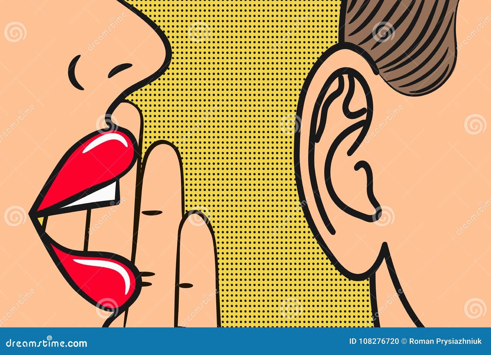 Kobiet wargi z ręką szepcze wewnątrz obsługują ucho z mowa bąblem Wystrzał sztuki styl, komiks ilustracja Sekrety i plotki pojęci