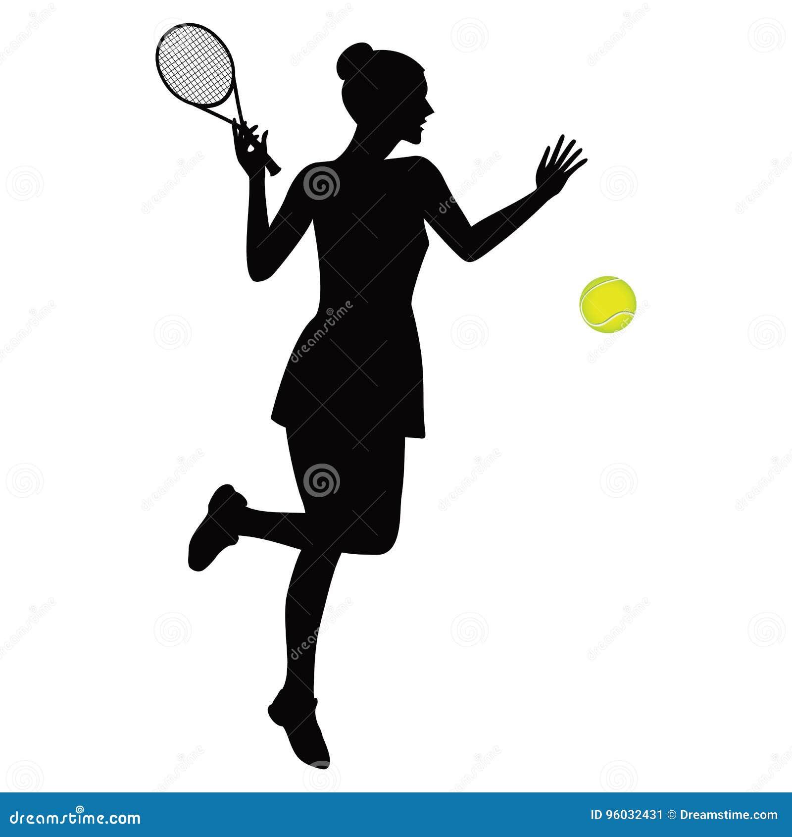 Kobieta bawić się tenisową czarną sylwetkę odizolowywającą na białej tło wektoru ilustraci