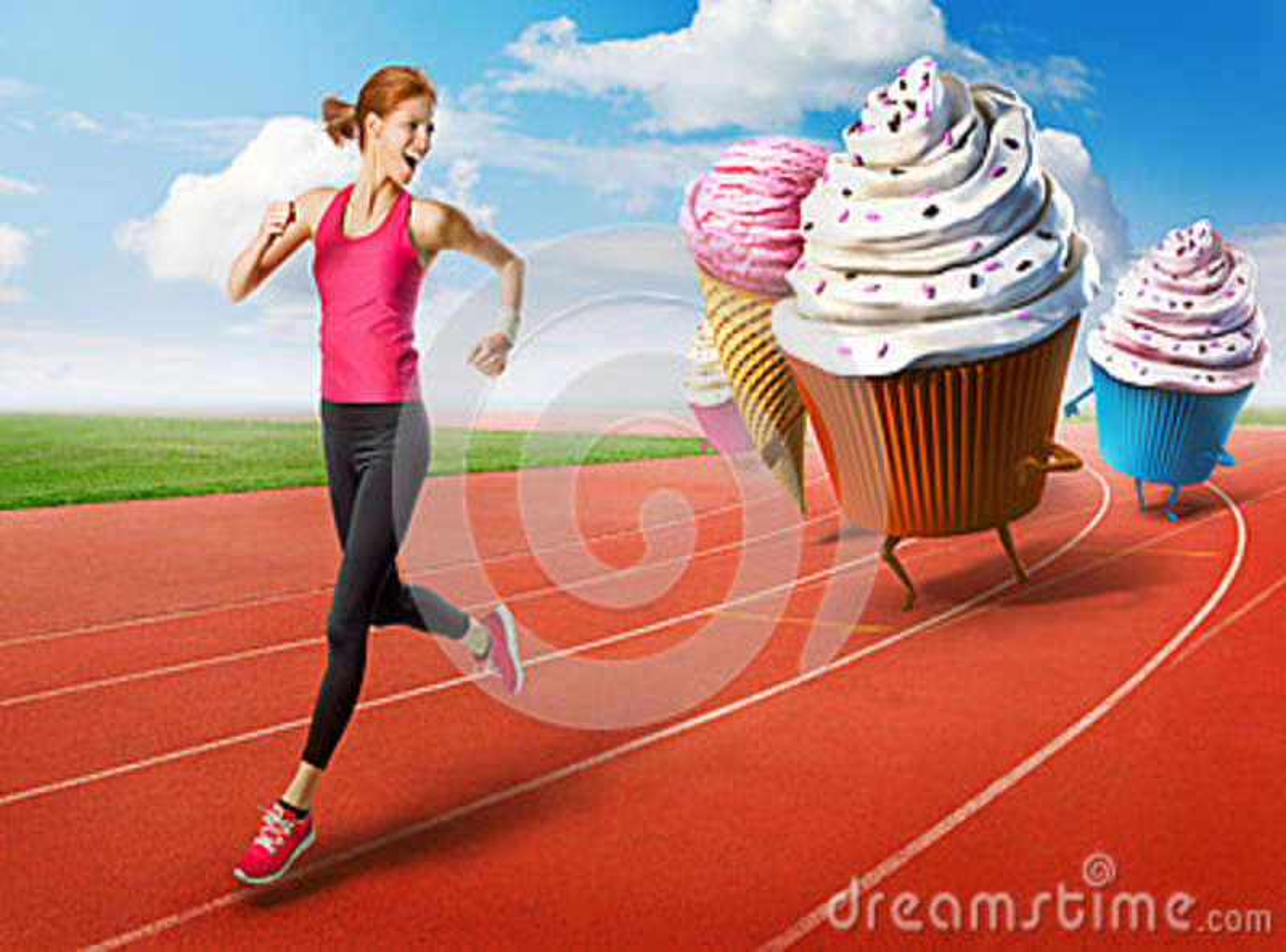 Kobieta bieg zdala od cukierków