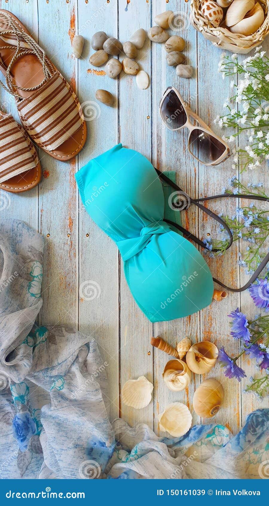 Kobieta bikini stanika plaży lata tła plaży odzieży sunglass sandała Seashell odzieżowego akcesoryjnego szalika dzikich kwiatów b