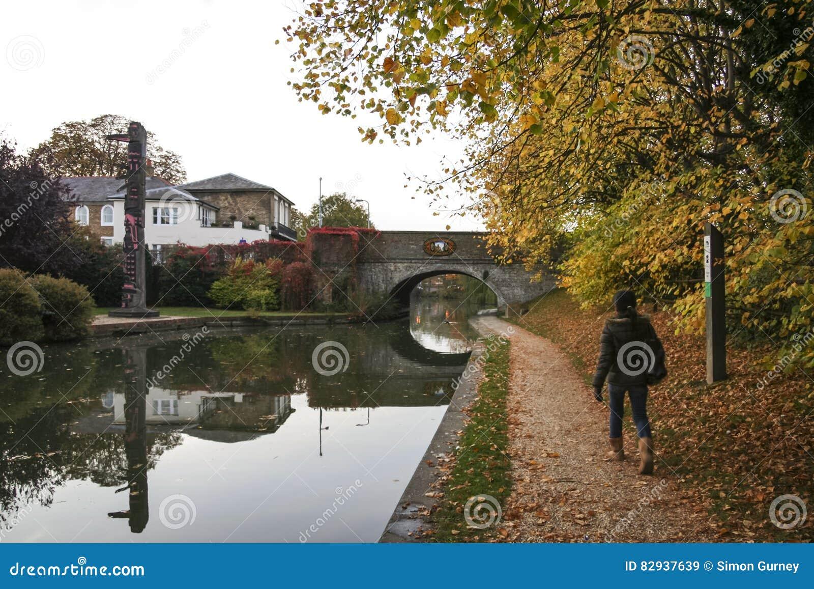 Kobieta chodzi uroczystego zrzeszeniowego kanałowego towpath berkhamsted uk