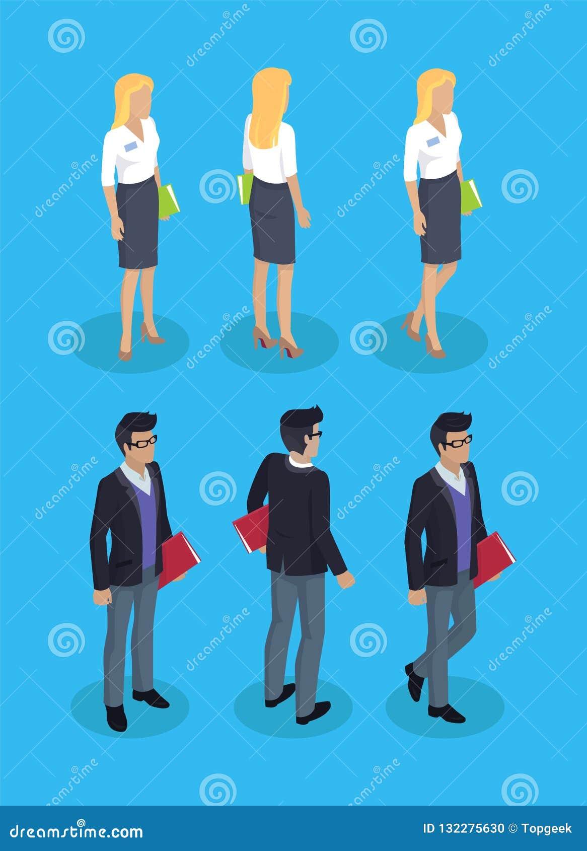 Kobieta i mężczyzn urzędnicy wektoru ilustracja